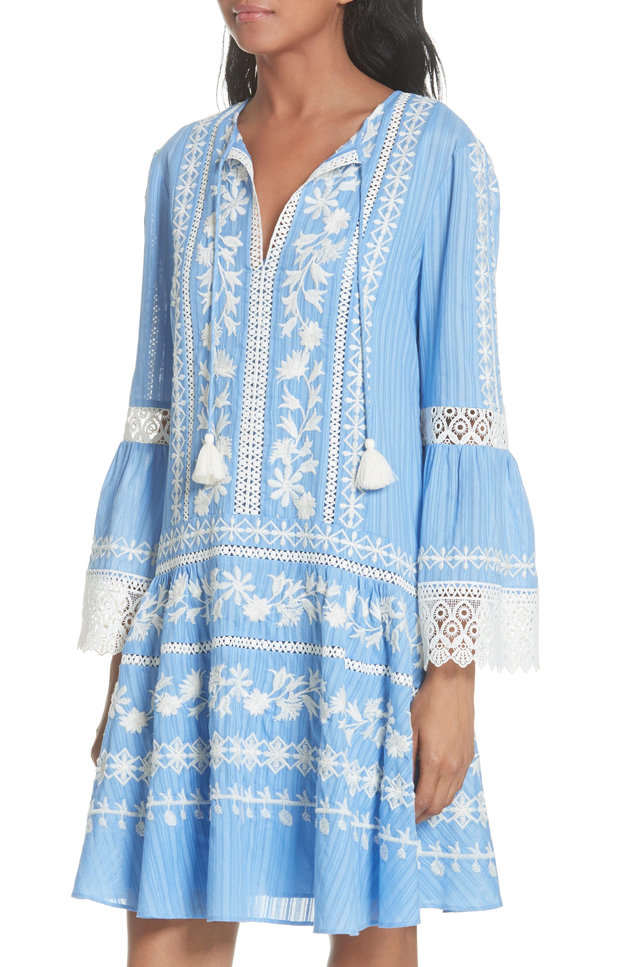 Gabriella Cotton Shift Dress,                             Alternate thumbnail 4, color,                             Blue Dusk