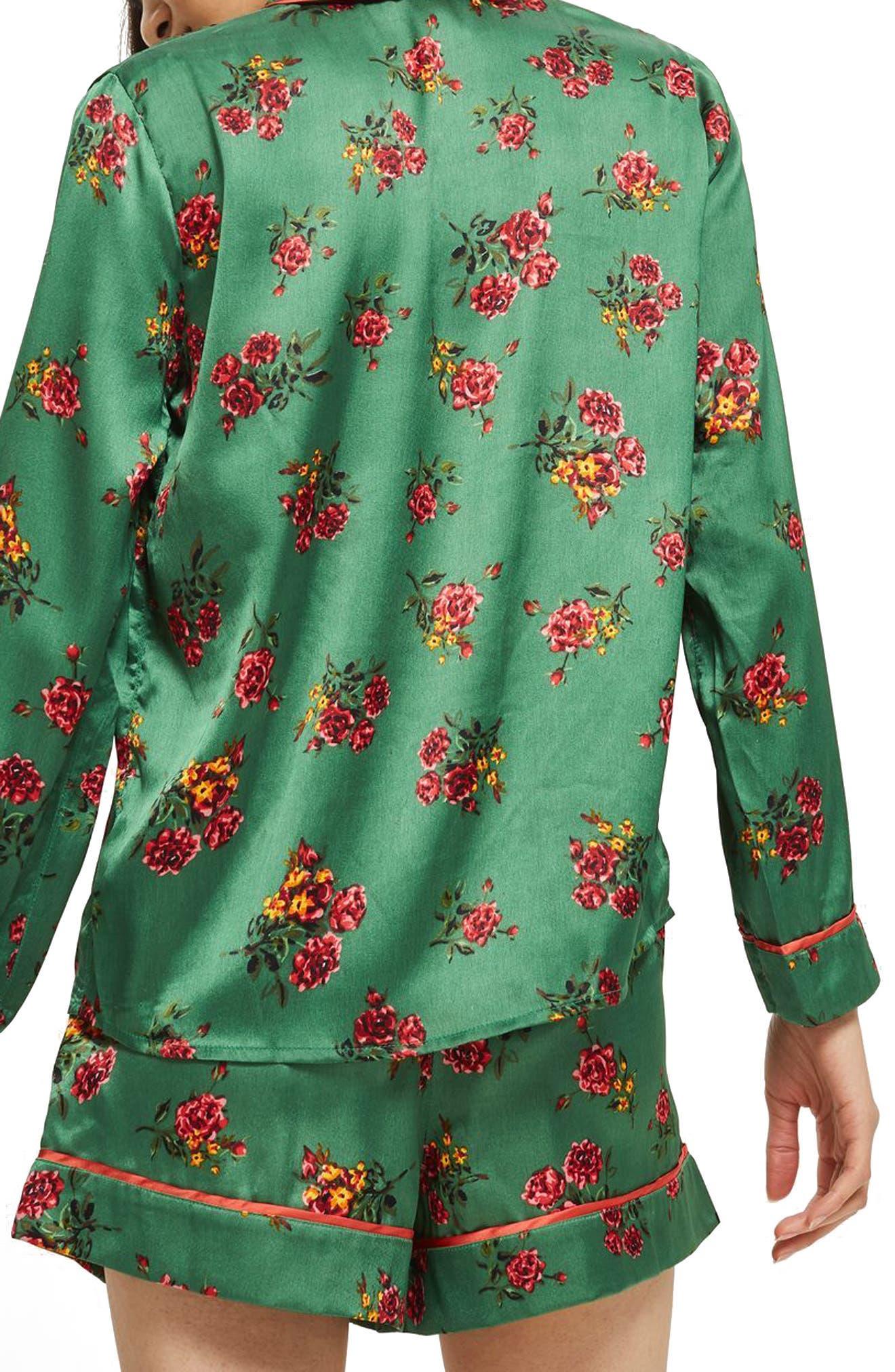 Floral Print Pajama Shirt,                             Alternate thumbnail 2, color,                             Bright Green Multi