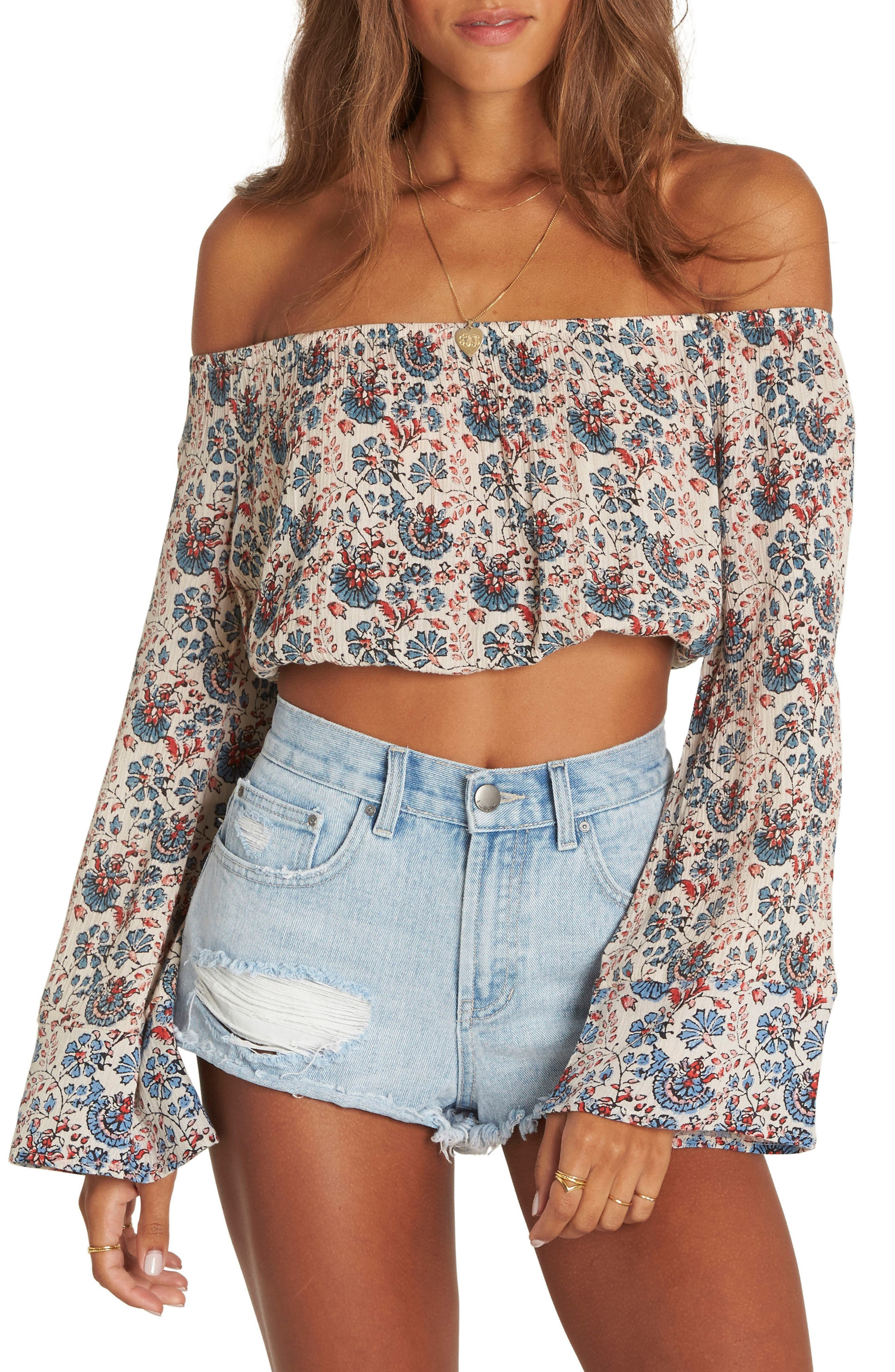 My Day Print Off the Shoulder Crop Top,                         Main,                         color, Ivory