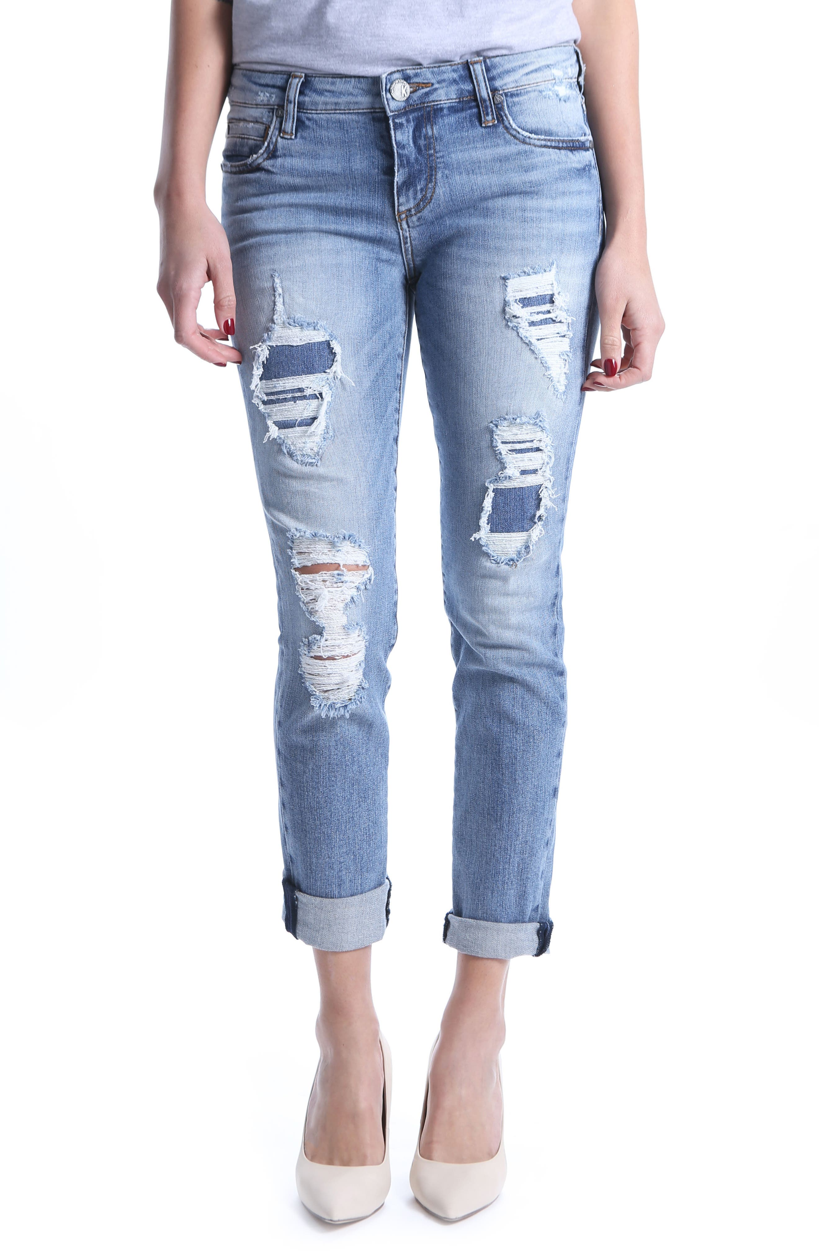 KUT from the Kloth Catherine Ripped Boyfriend Jeans,                         Main,                         color, Attract