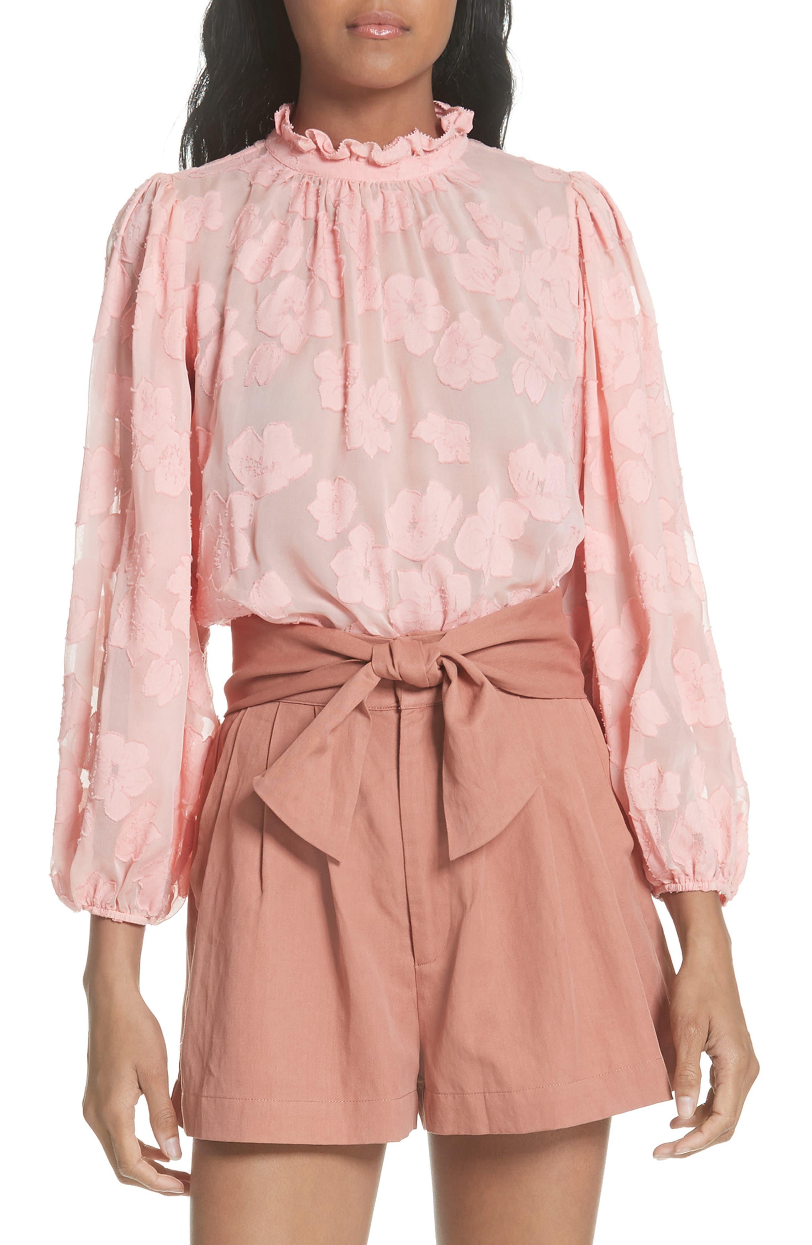 Sandrine Silk & Cotton Jacquard Blouse,                             Main thumbnail 1, color,                             Bubblegum