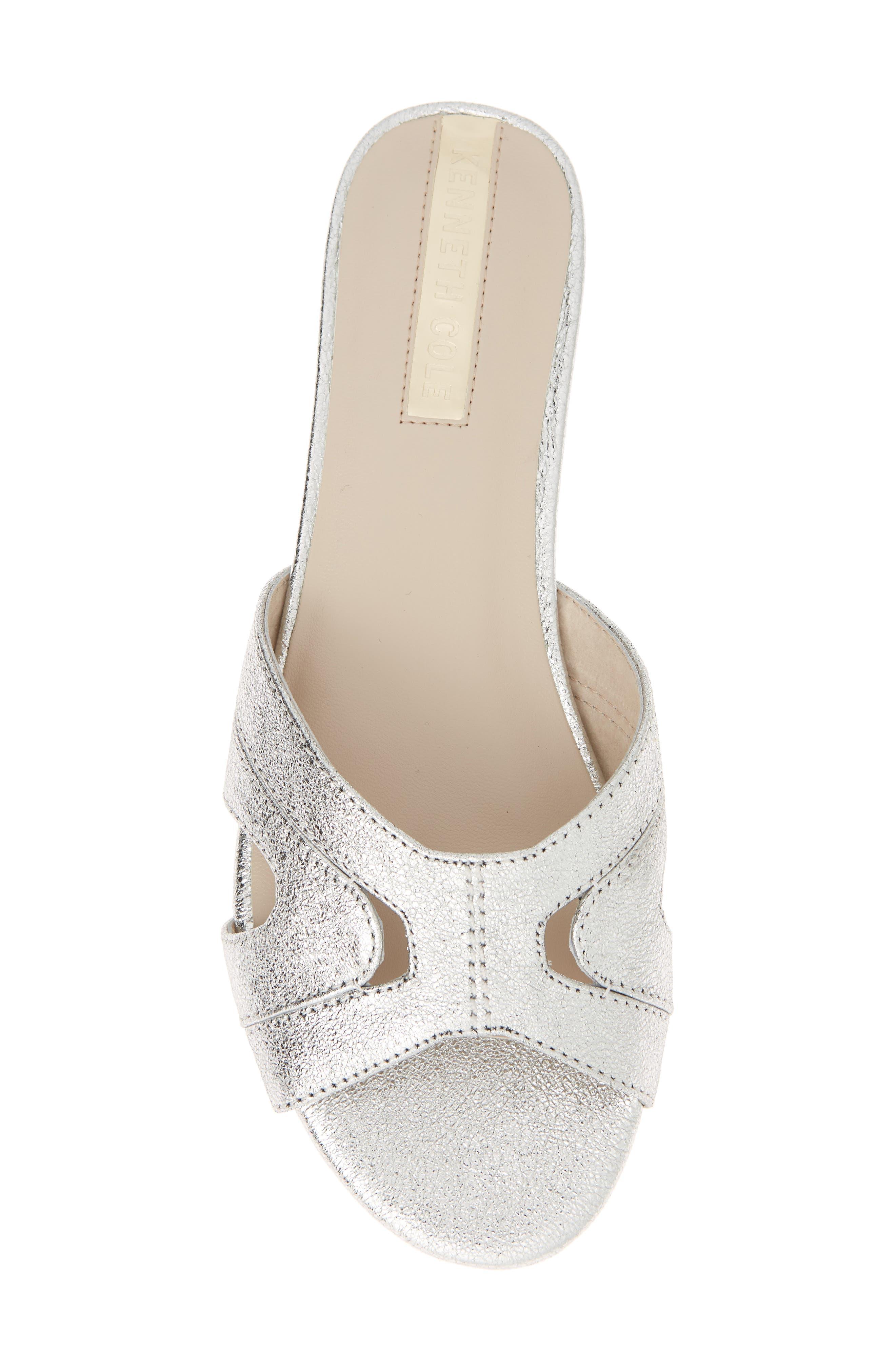 Viveca Slide Sandal,                             Alternate thumbnail 5, color,                             Silver Leather