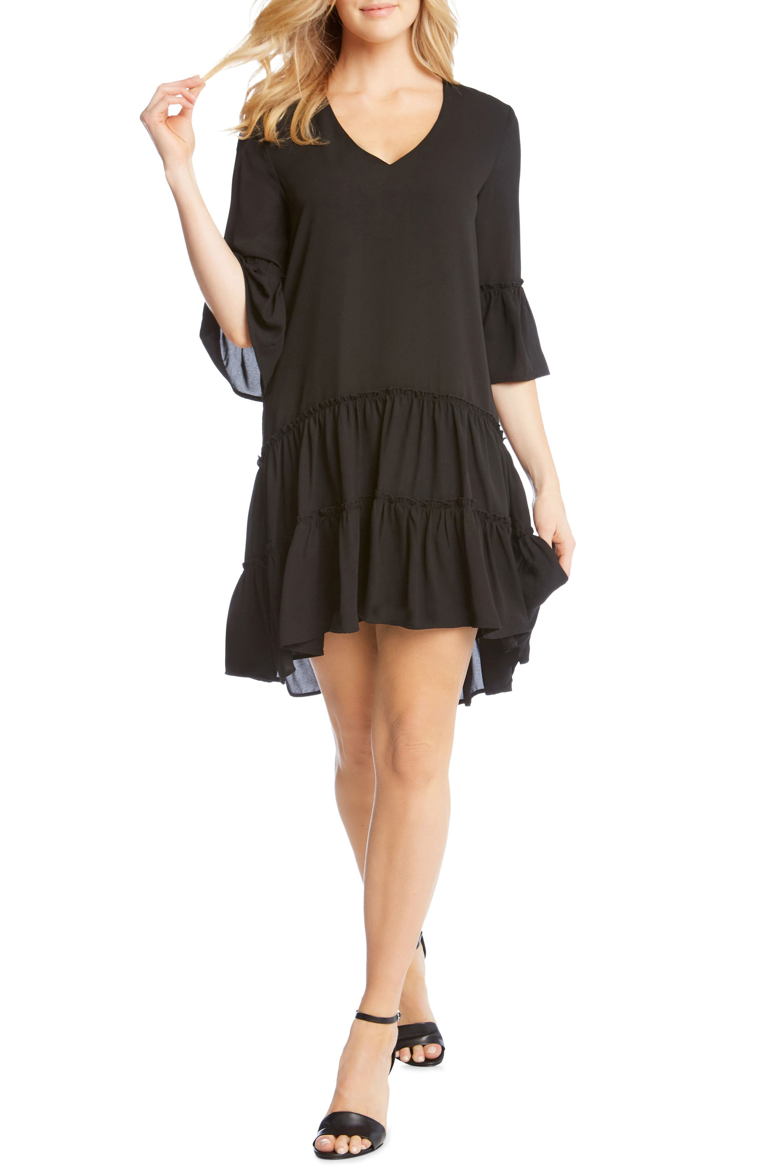 Tiered Ruffle Dress,                         Main,                         color, Black