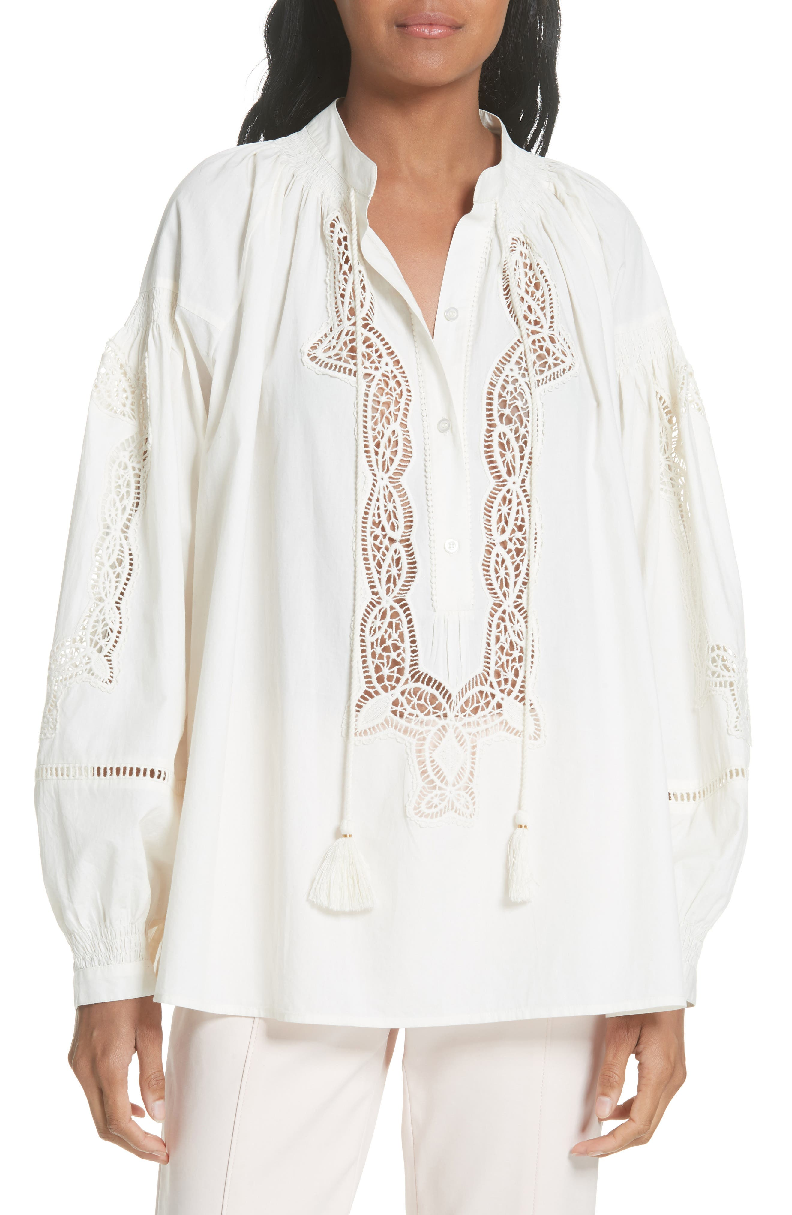 Kimberly Lace Trim Blouse,                             Main thumbnail 1, color,                             New Ivory