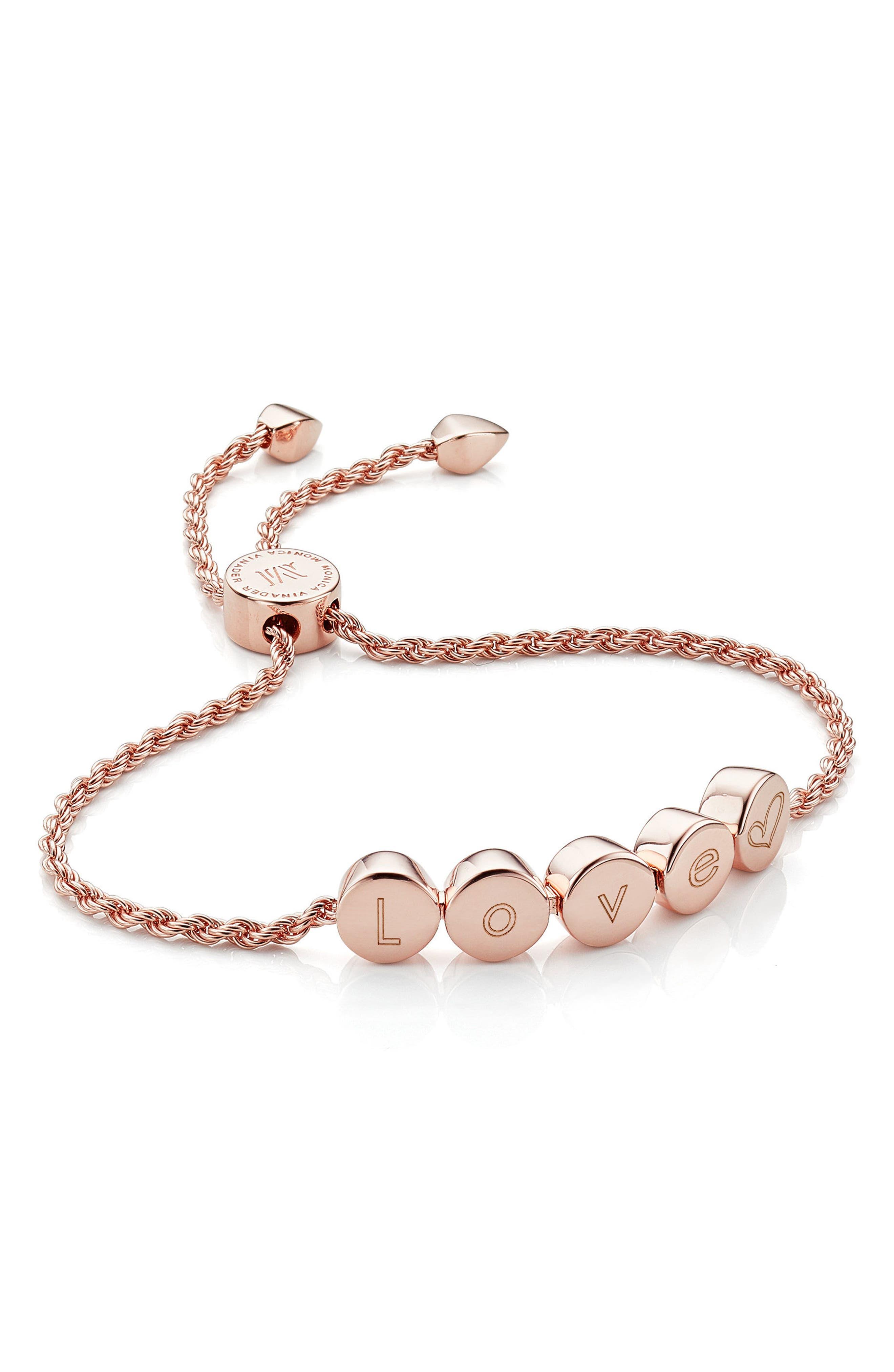 Engravable Linear Bead Friendship Bracelet,                             Alternate thumbnail 2, color,                             Rose Gold