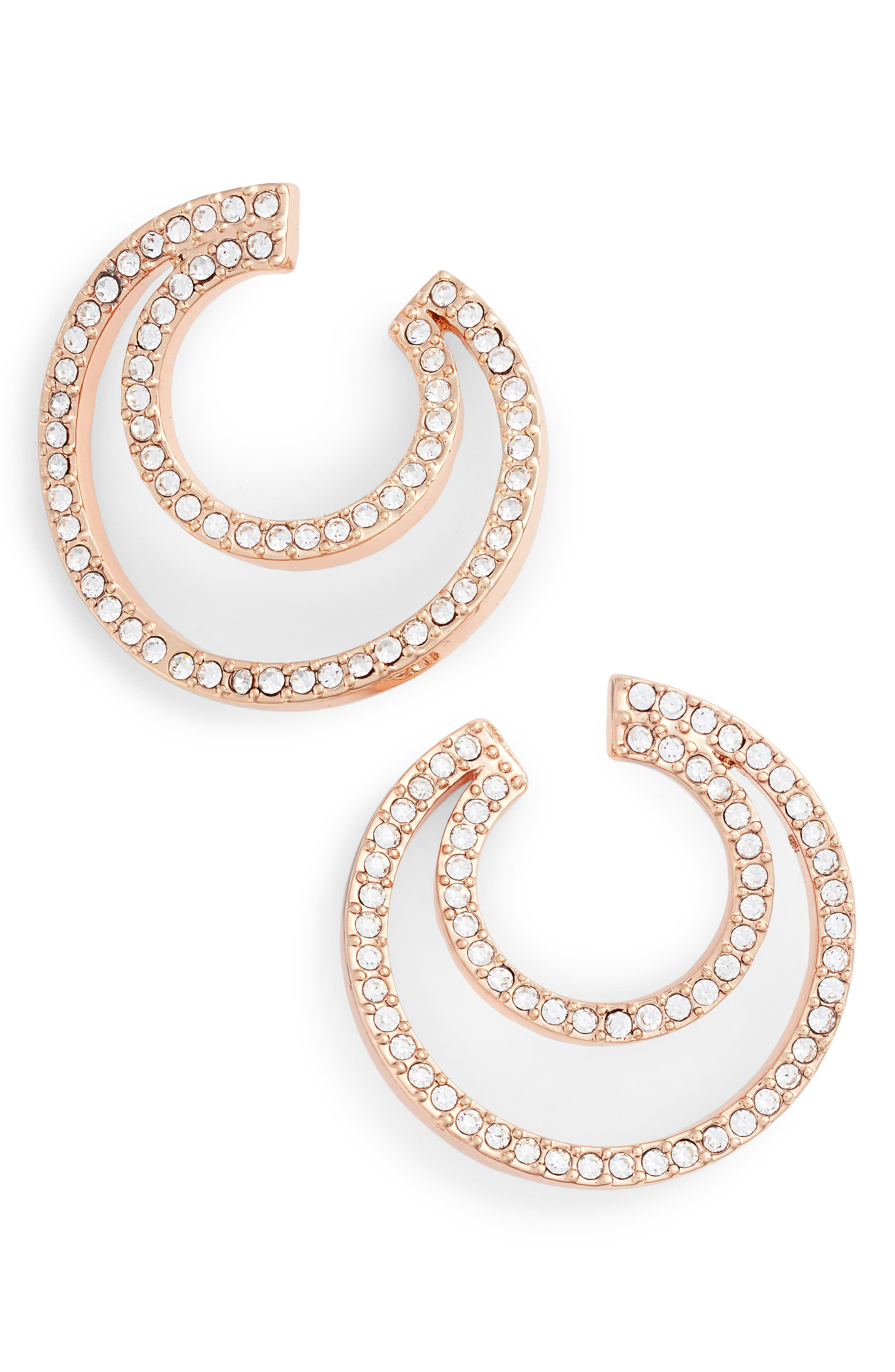 Curved Hoop Earrings,                             Main thumbnail 1, color,                             Rose Gold