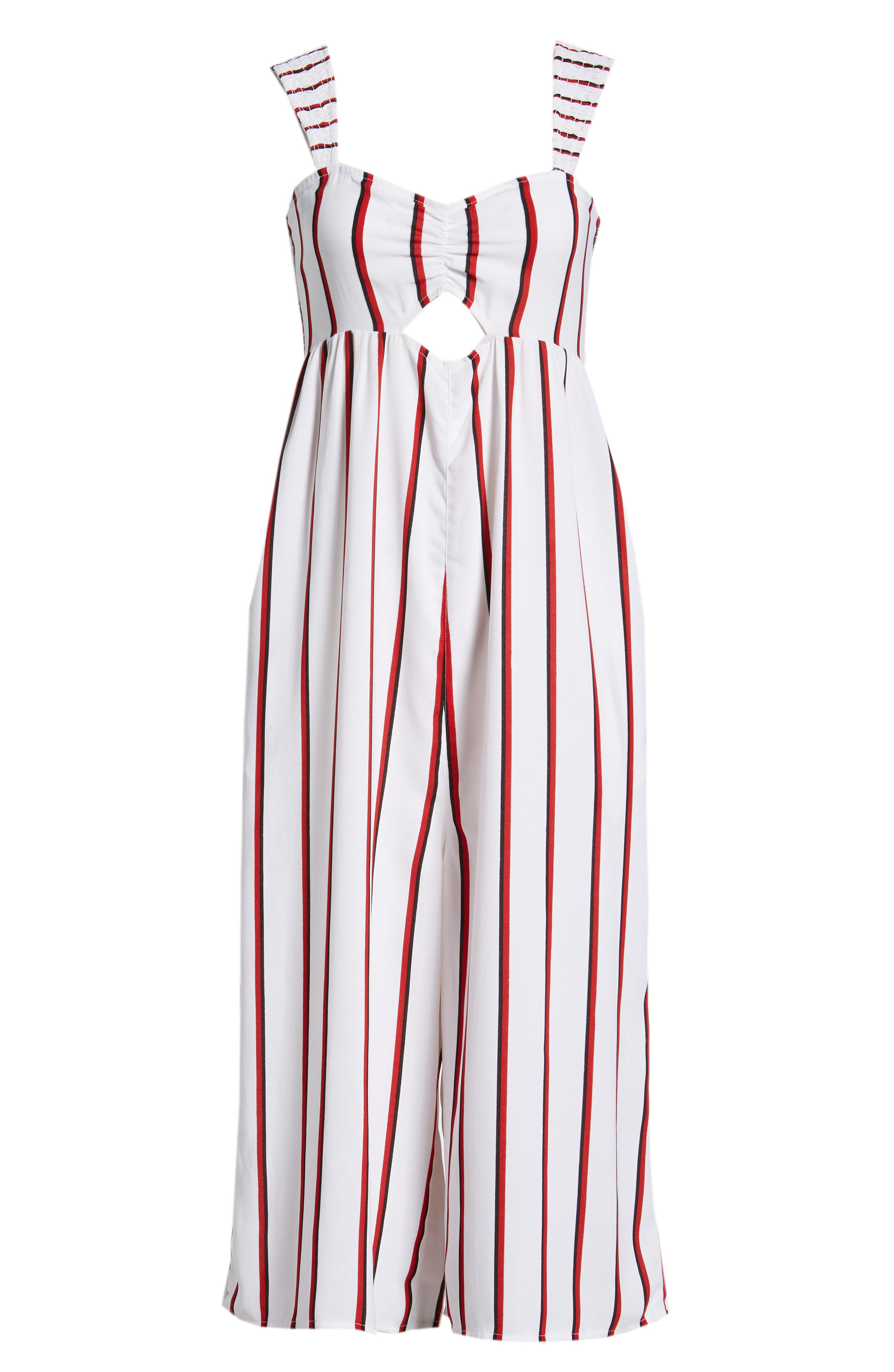 Counting Moons Crop Jumpsuit,                             Alternate thumbnail 7, color,                             Chili Red