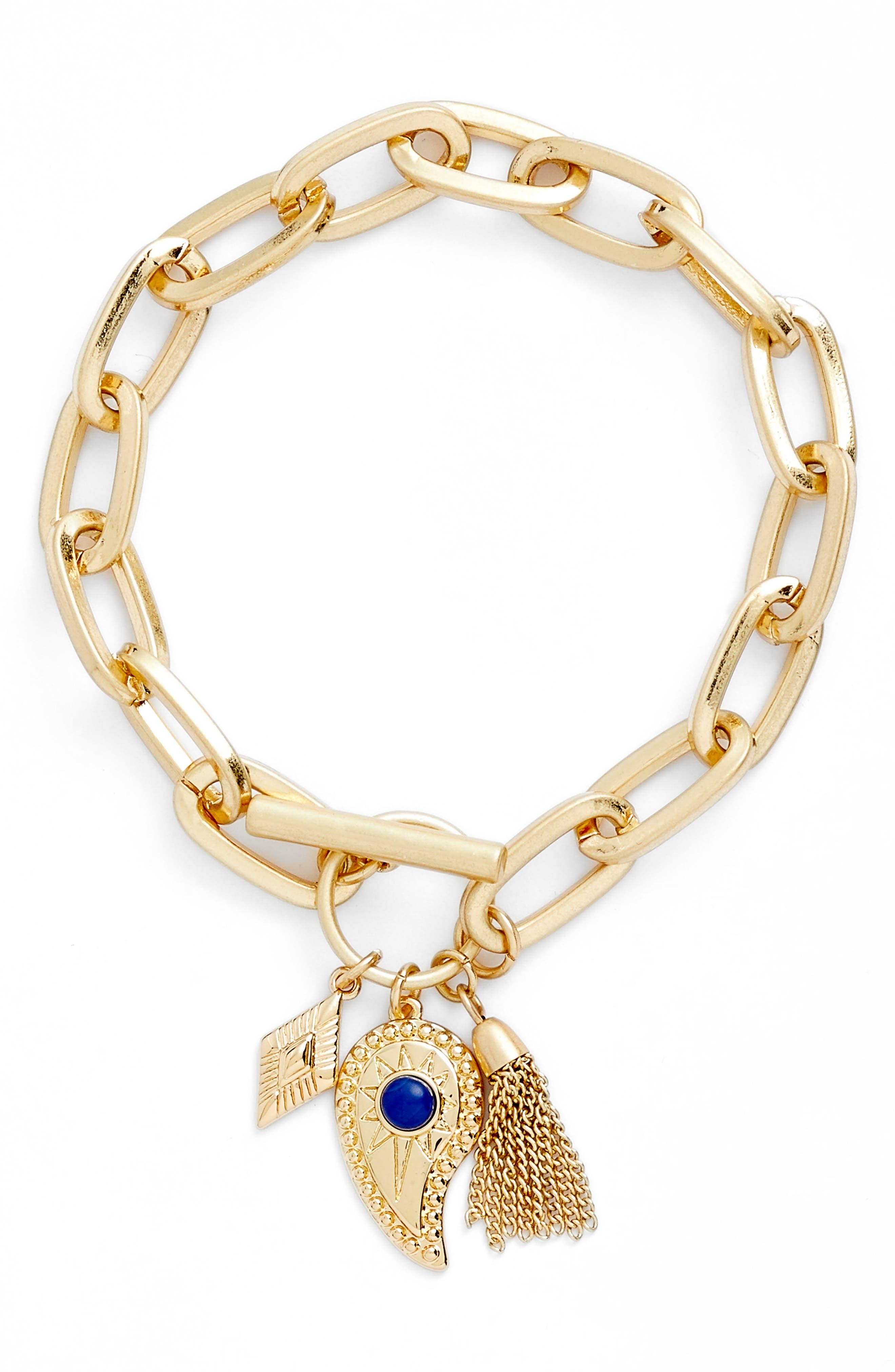 Perfect Chain Charm Bracelet,                             Main thumbnail 1, color,                             Gold