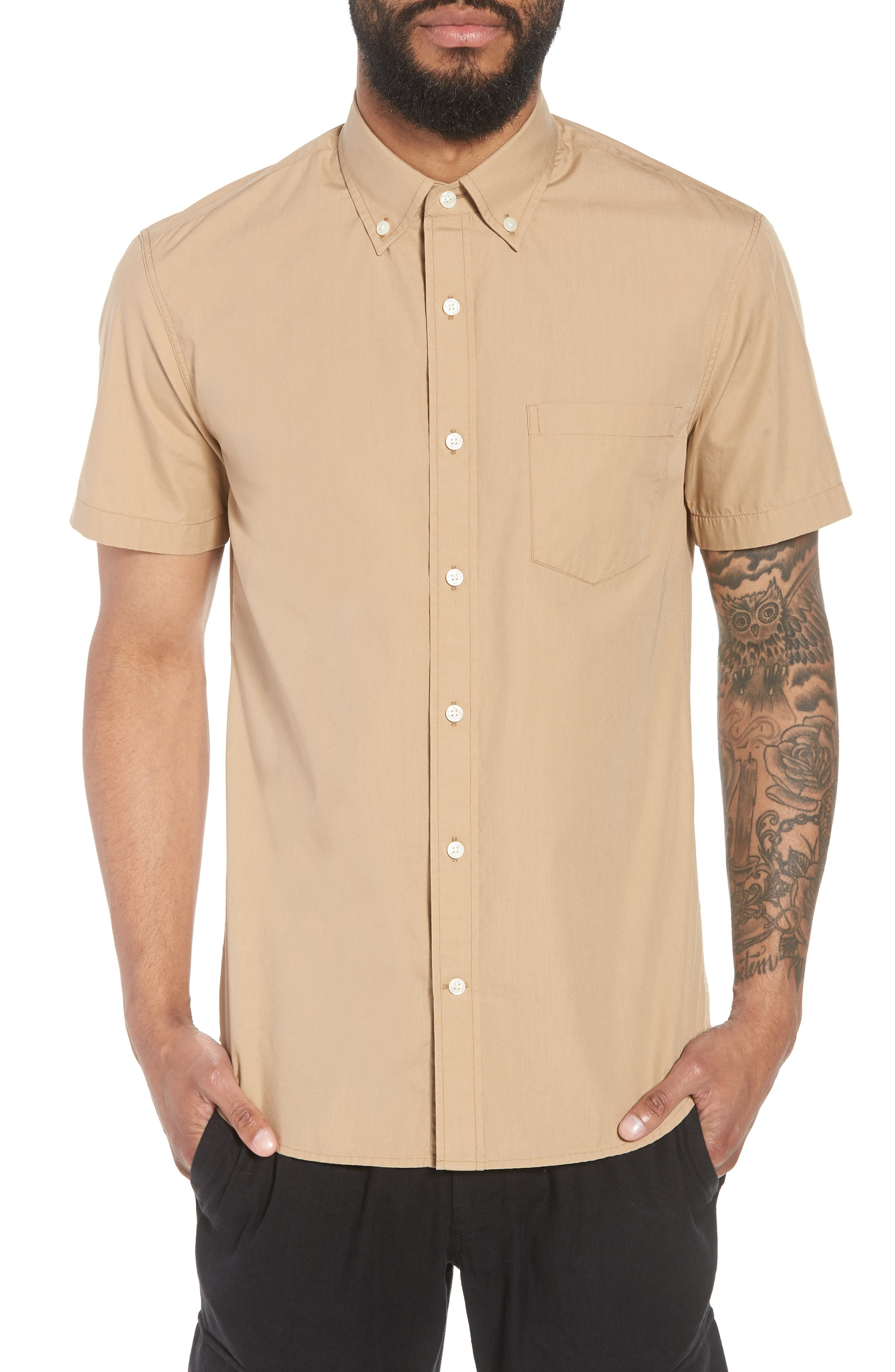 Slim Fit Solid Short Sleeve Sport Shirt,                             Main thumbnail 1, color,                             Khaki