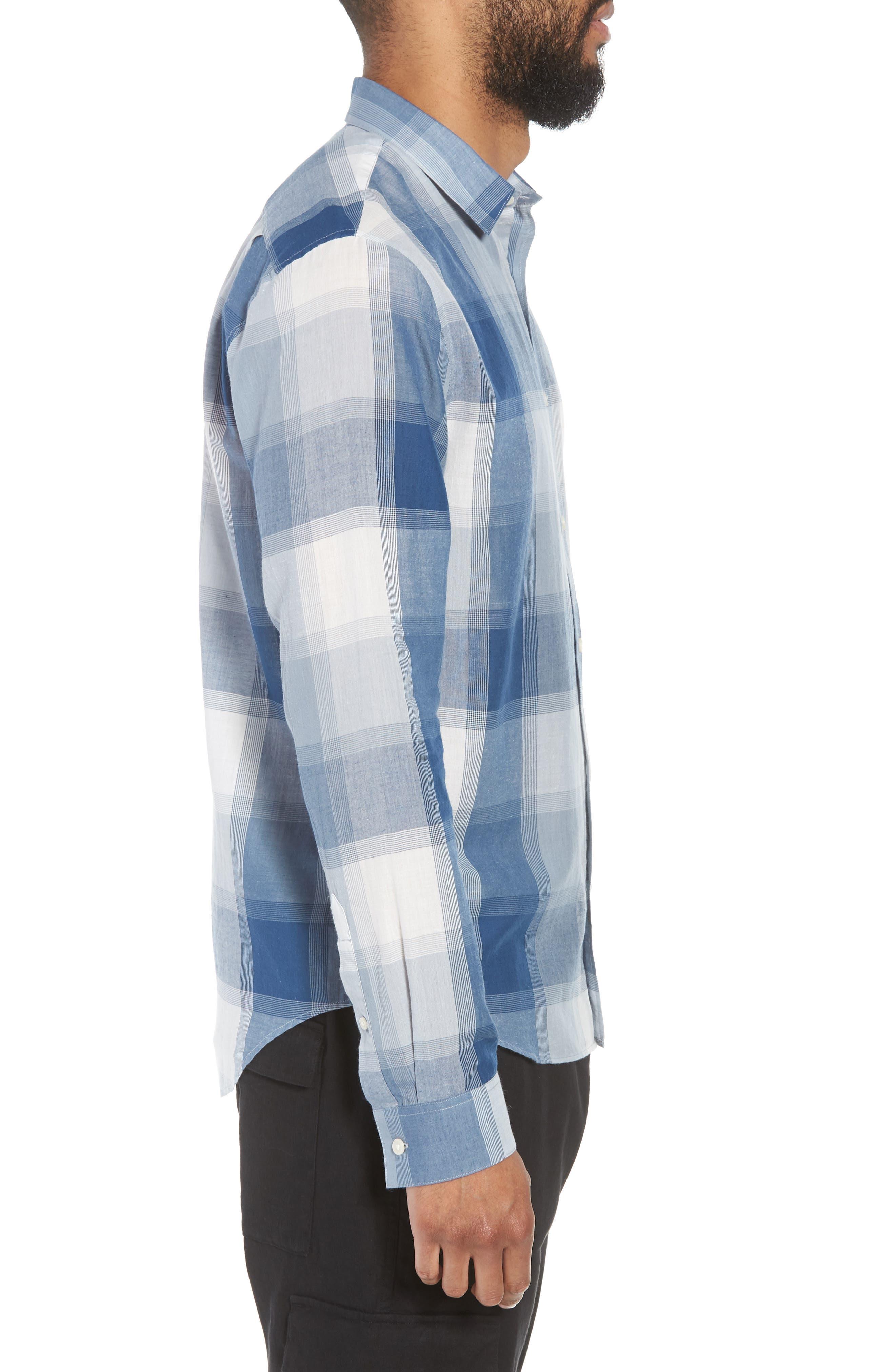Classic Fit Plaid Sport Shirt,                             Alternate thumbnail 4, color,                             Ocean