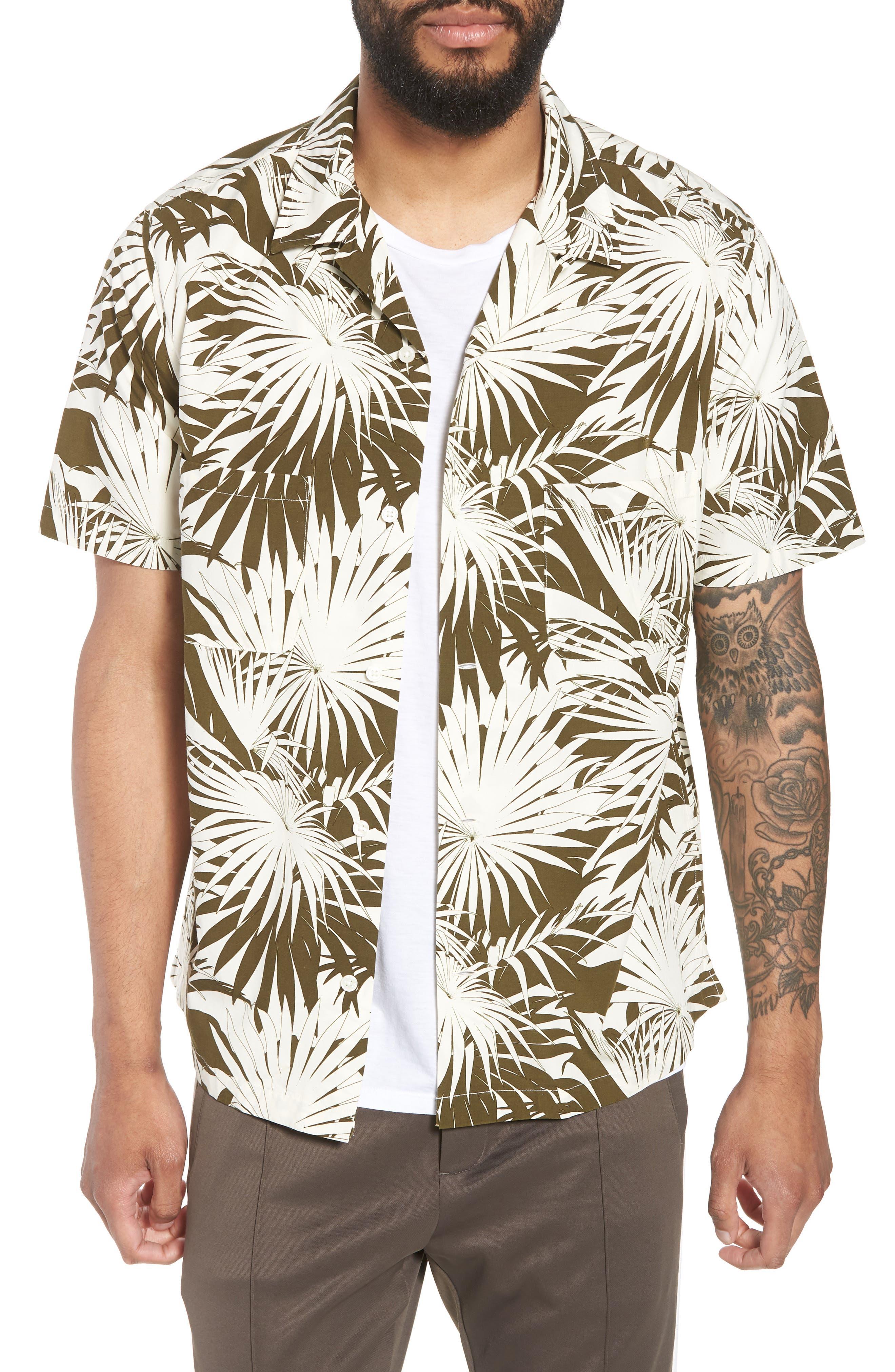 Vince Palm Leaf Cabana Woven Shirt