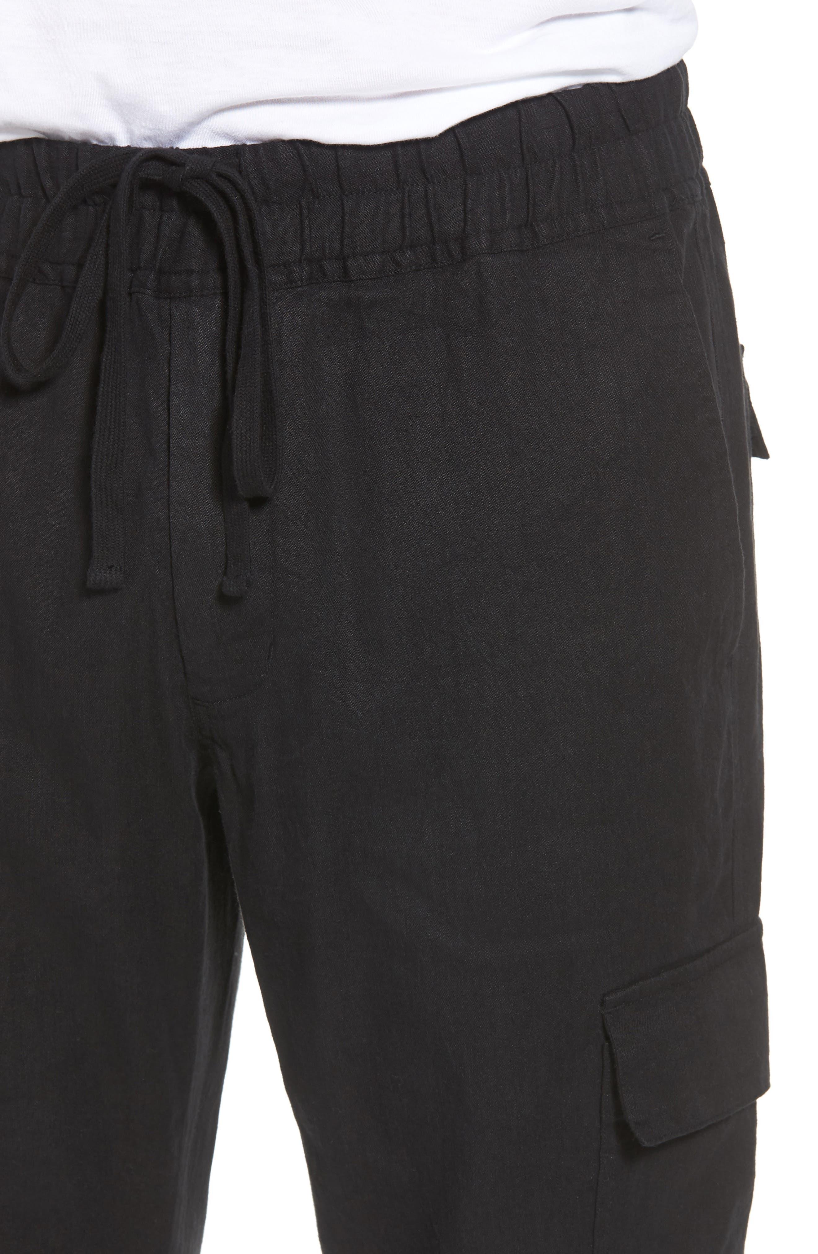 Stretch Linen & Cotton Cargo Pants,                             Alternate thumbnail 4, color,                             Black