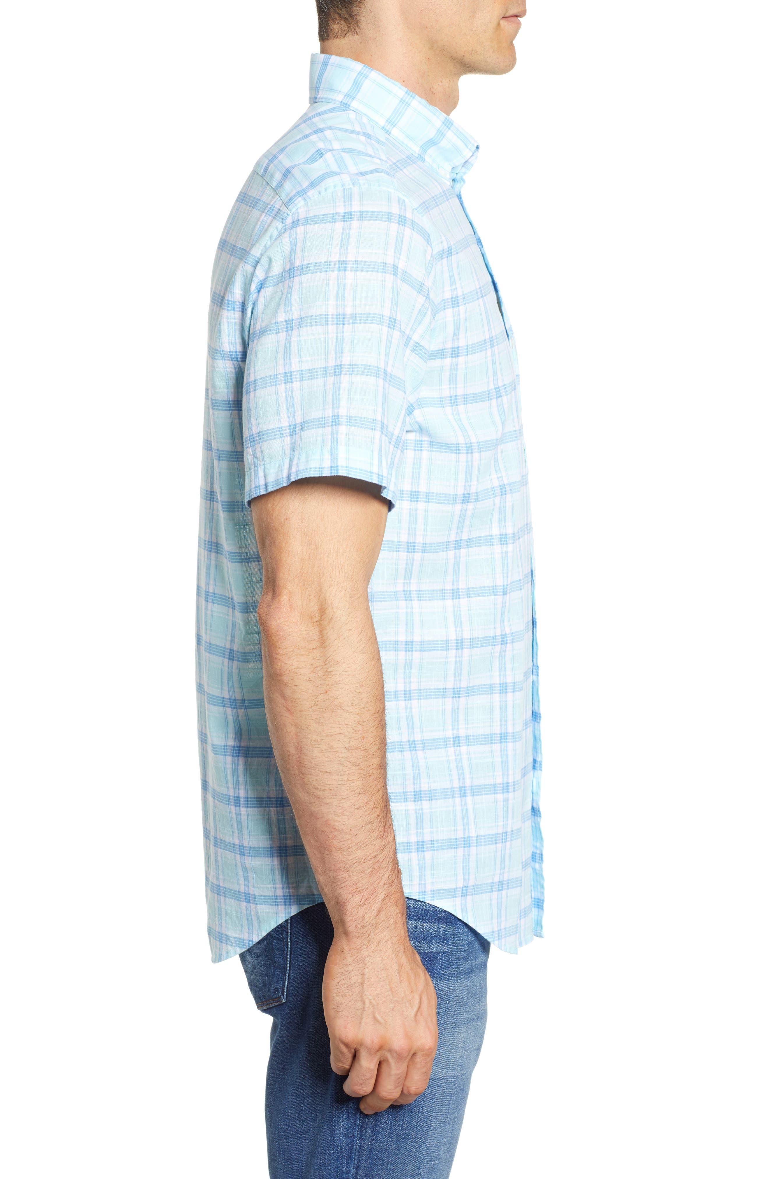 Pleasant Bay Classic Fit Plaid Sport Shirt,                             Alternate thumbnail 4, color,                             Pool Side