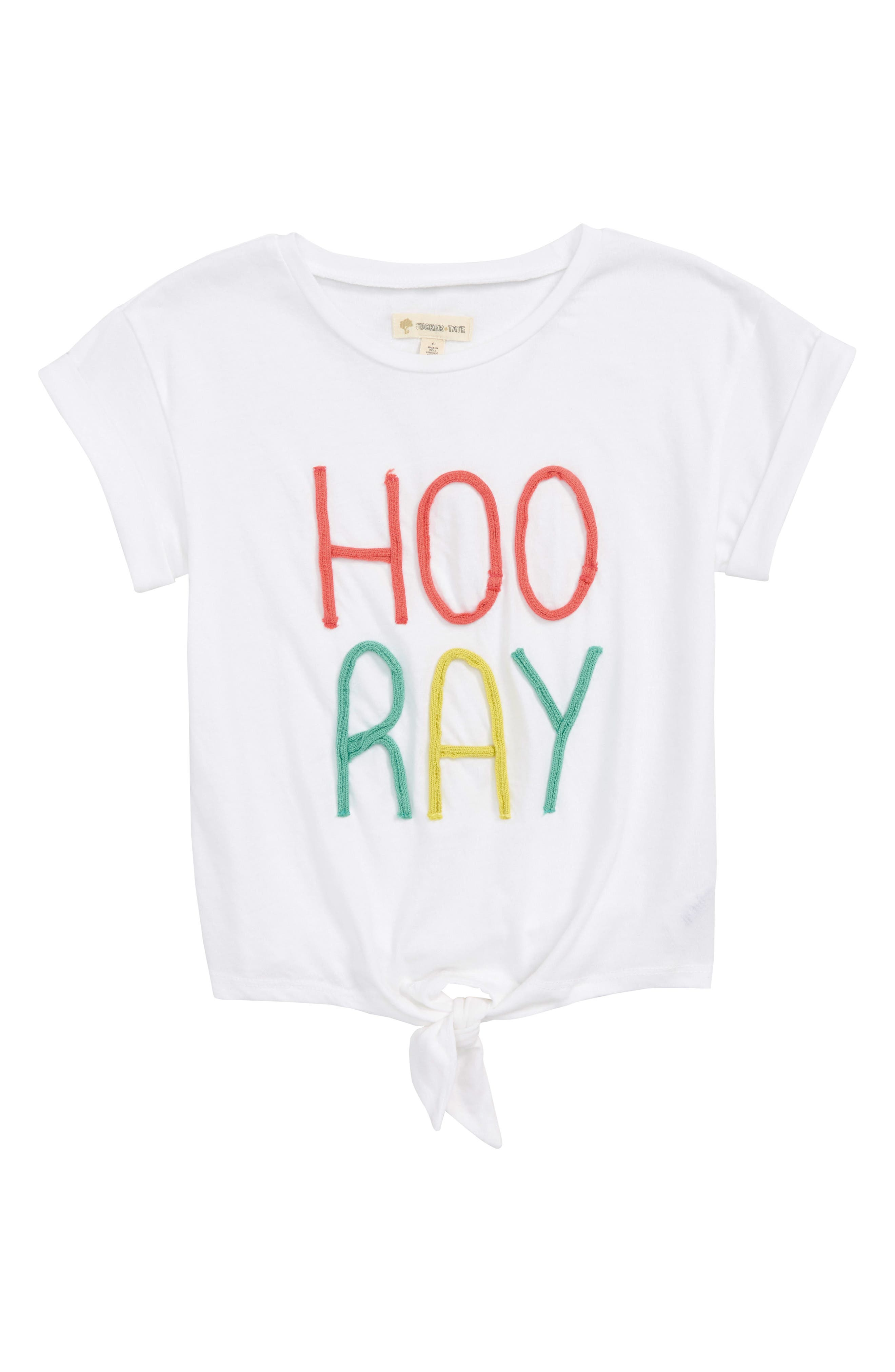Knot Front Tee,                         Main,                         color, White Hooray