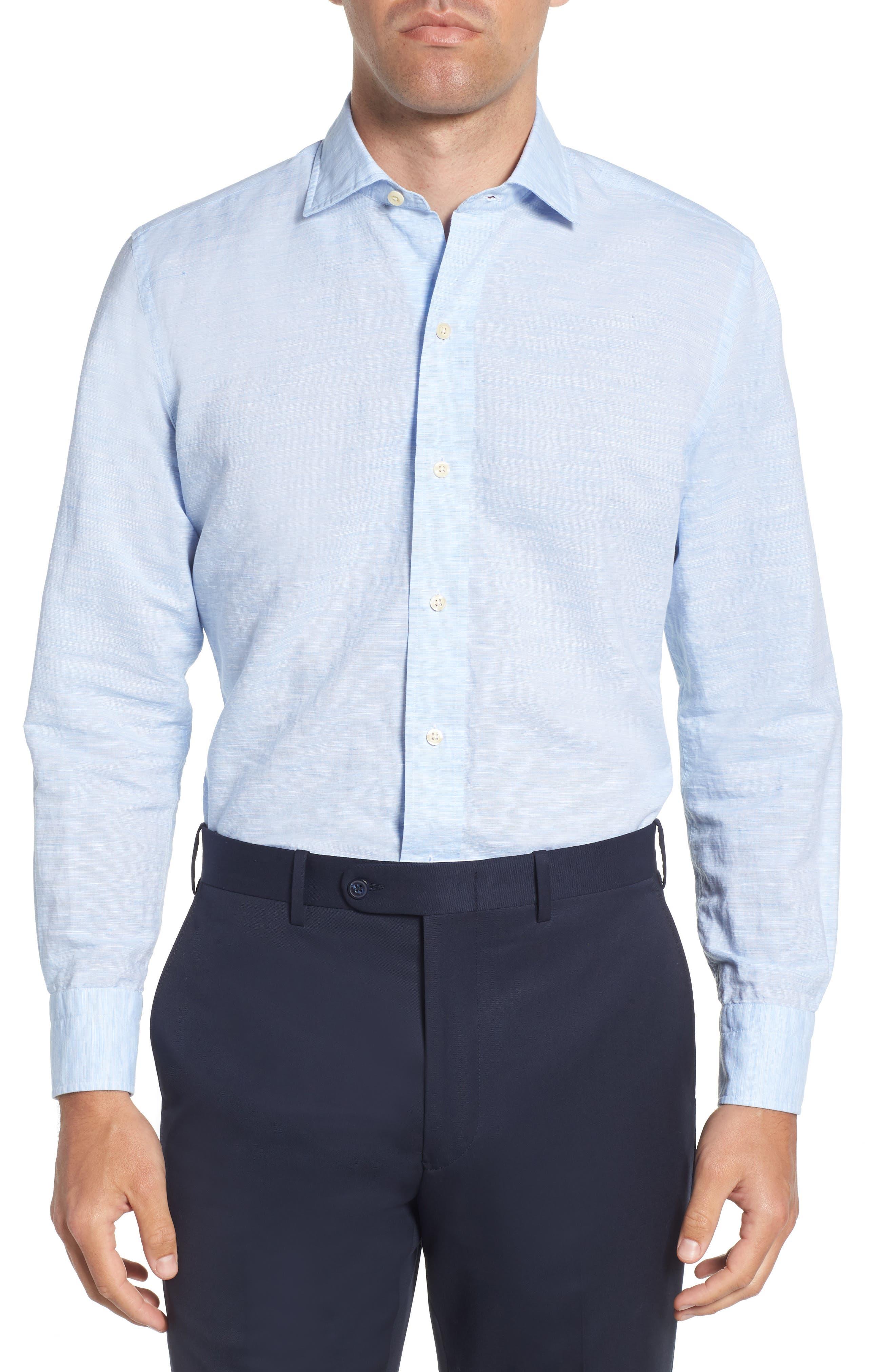 Ledbury Edmunton Slim Fit Linen & Cotton Dress Shirt