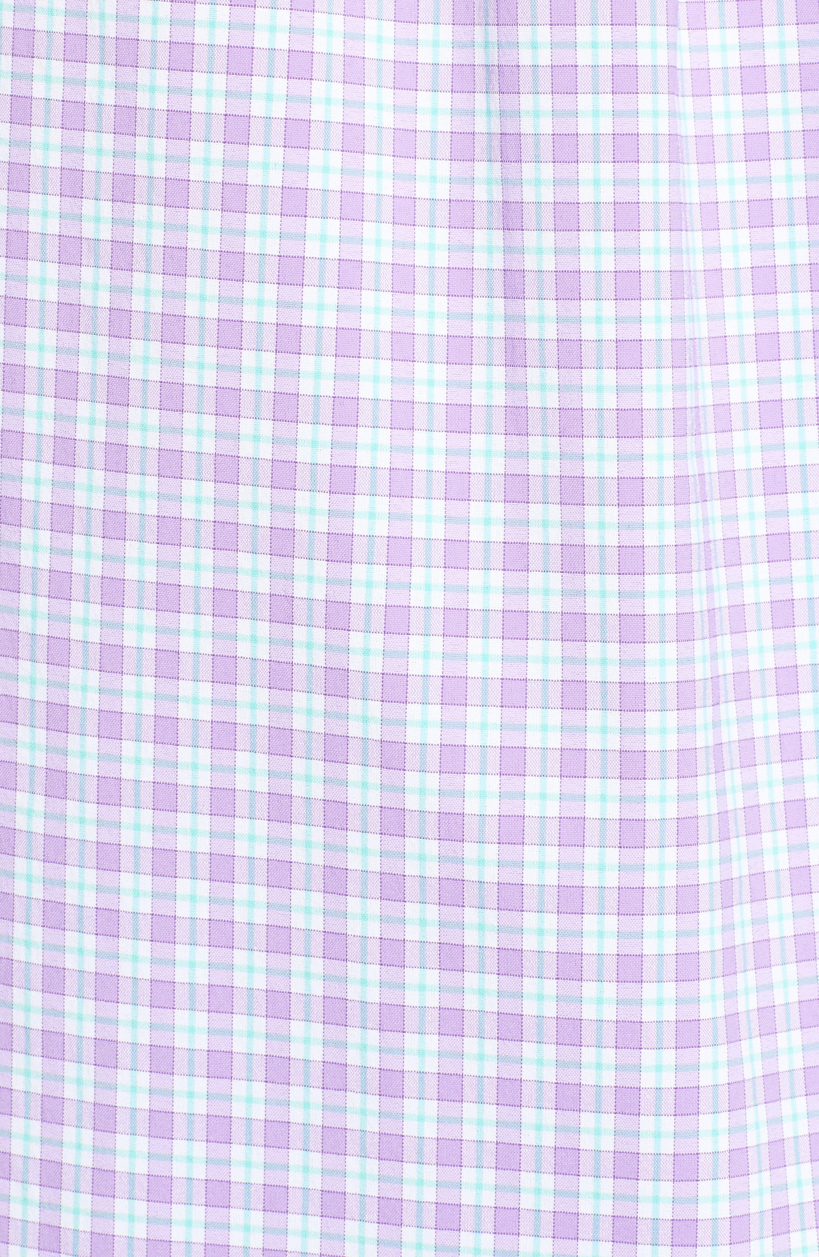 Oyster Pond Slim Fit Plaid Sport Shirt,                             Alternate thumbnail 5, color,                             Sea Urchin