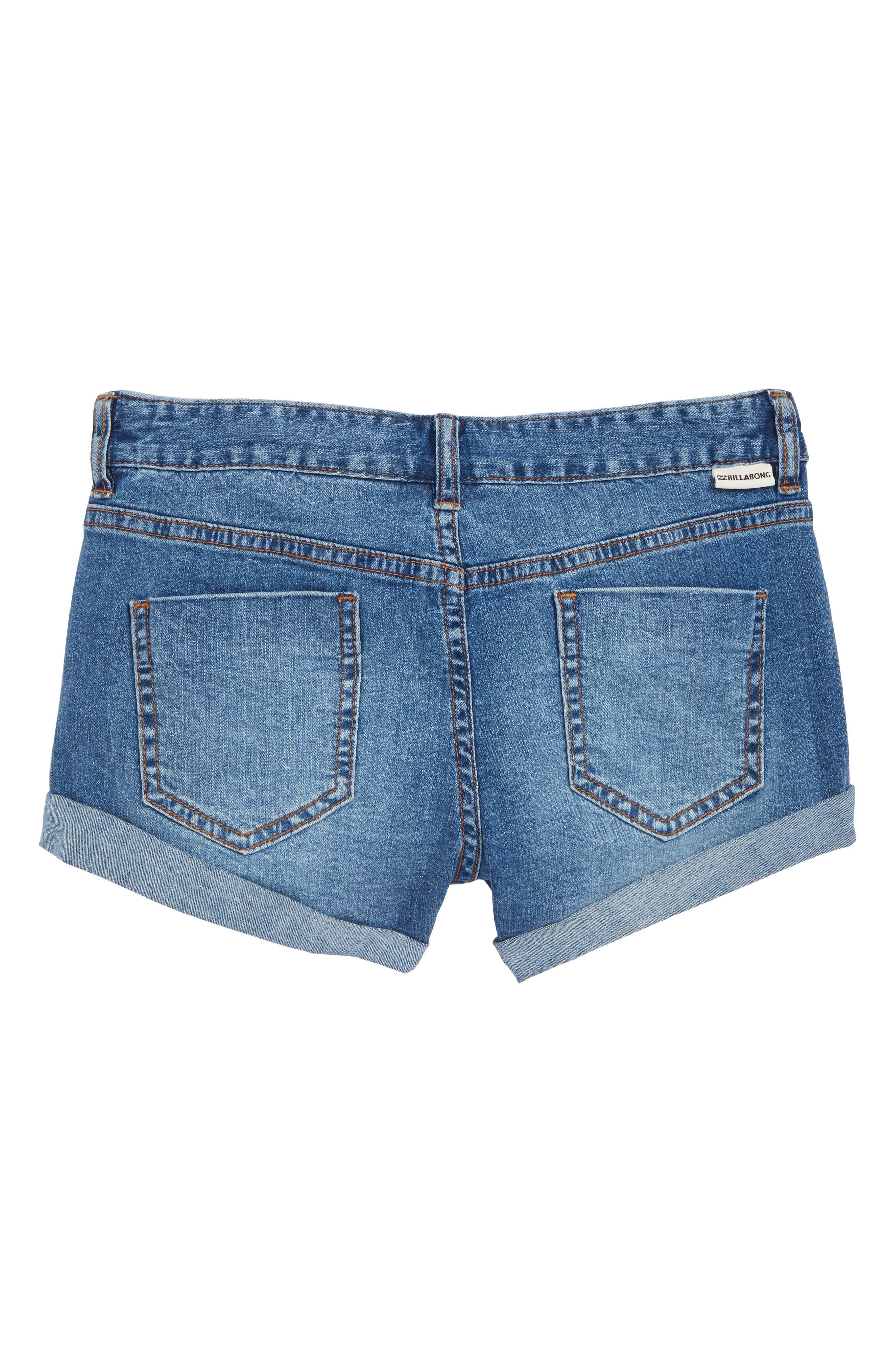 Cool Side Patch Denim Shorts,                             Alternate thumbnail 2, color,                             Beach Blue