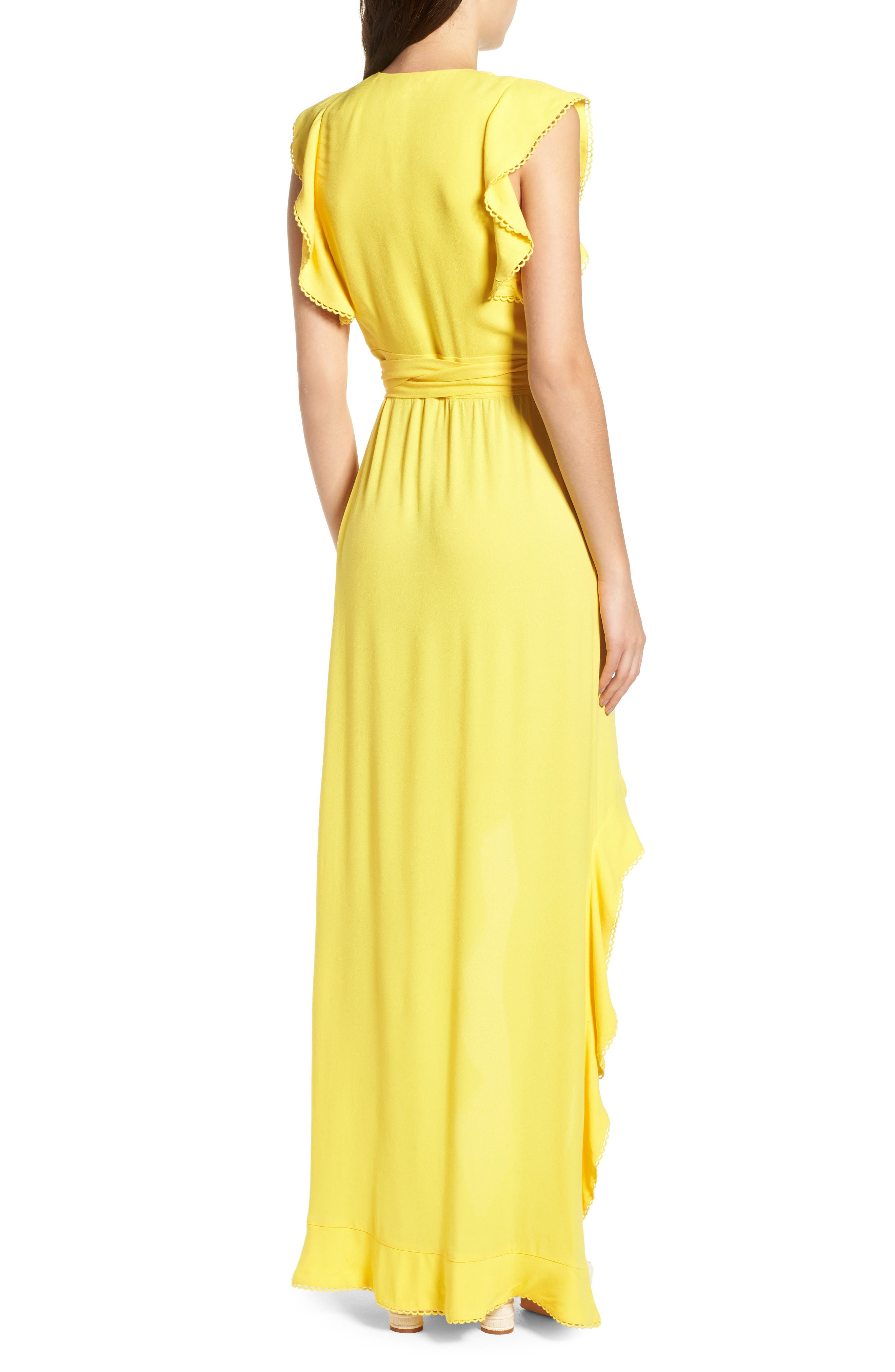 Andrea Ruffle Wrap Dress,                             Alternate thumbnail 2, color,                             Gold