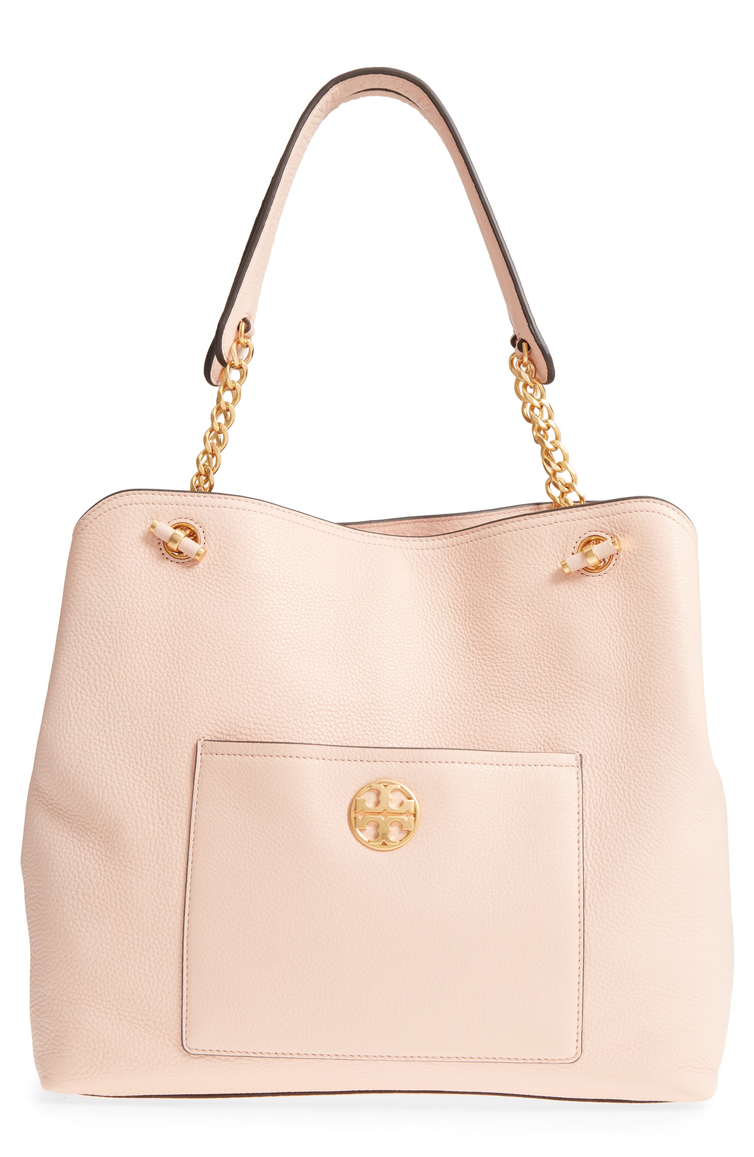 CHELSEA SLOUCHY LEATHER TOTE - PINK