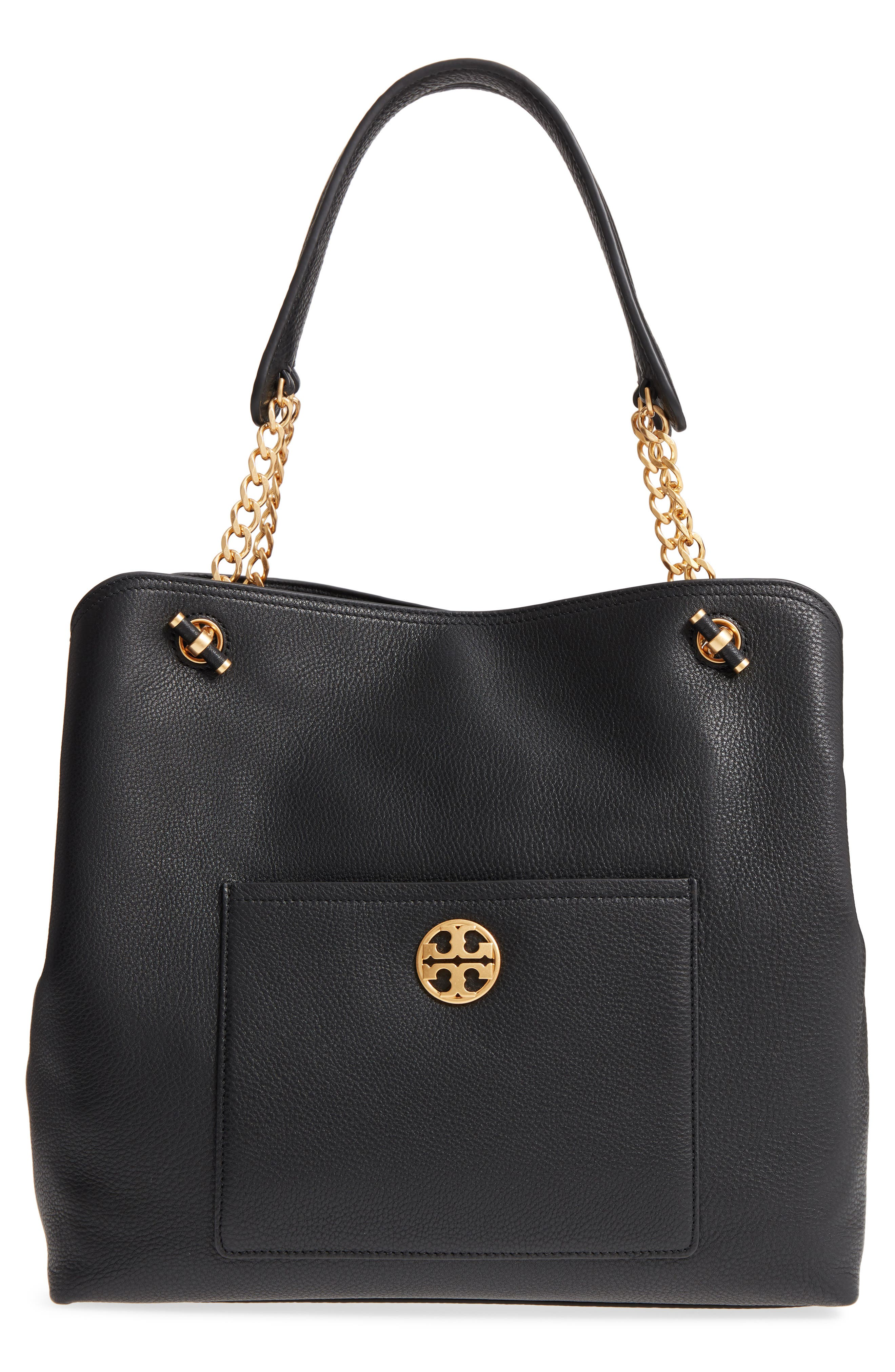 Chelsea Slouchy Leather Tote,                             Main thumbnail 1, color,                             Black Core