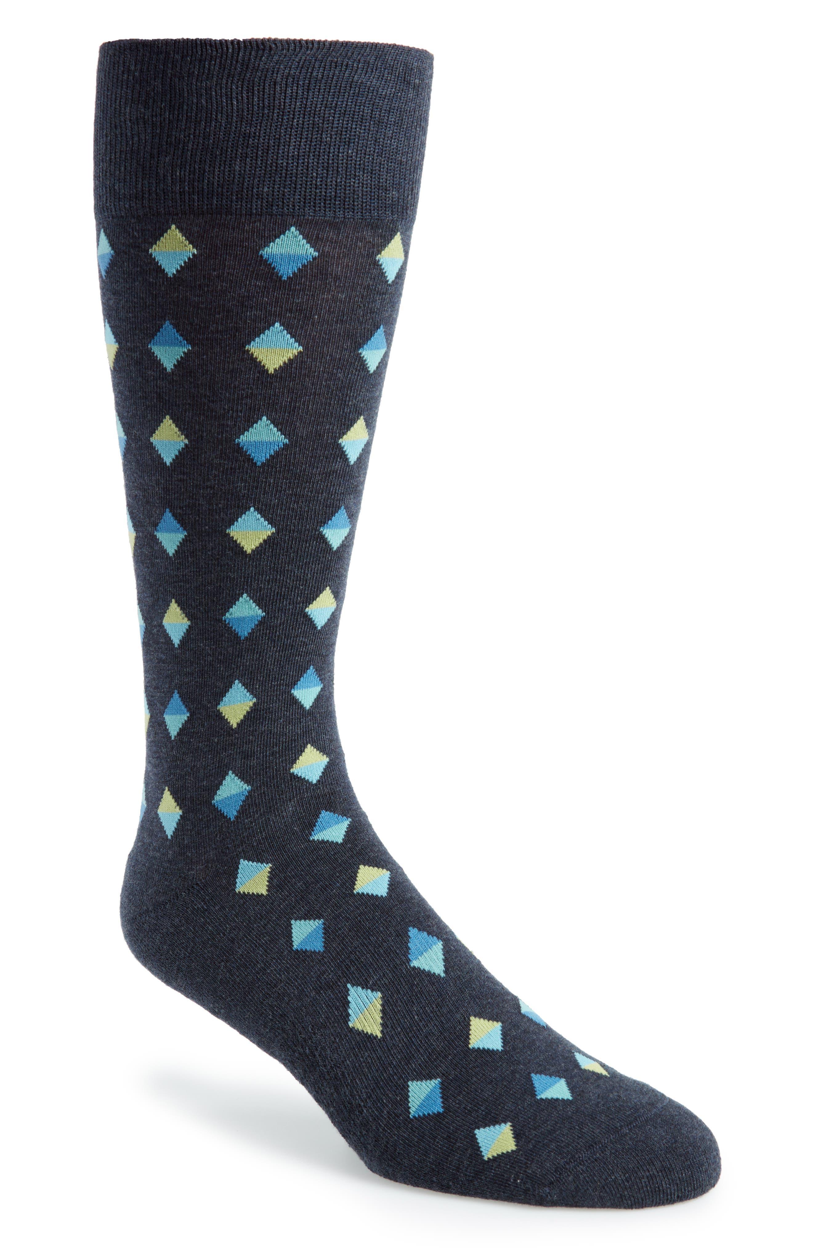 Spliced Diamonds Socks,                             Main thumbnail 1, color,                             Navy/ Chartreuse