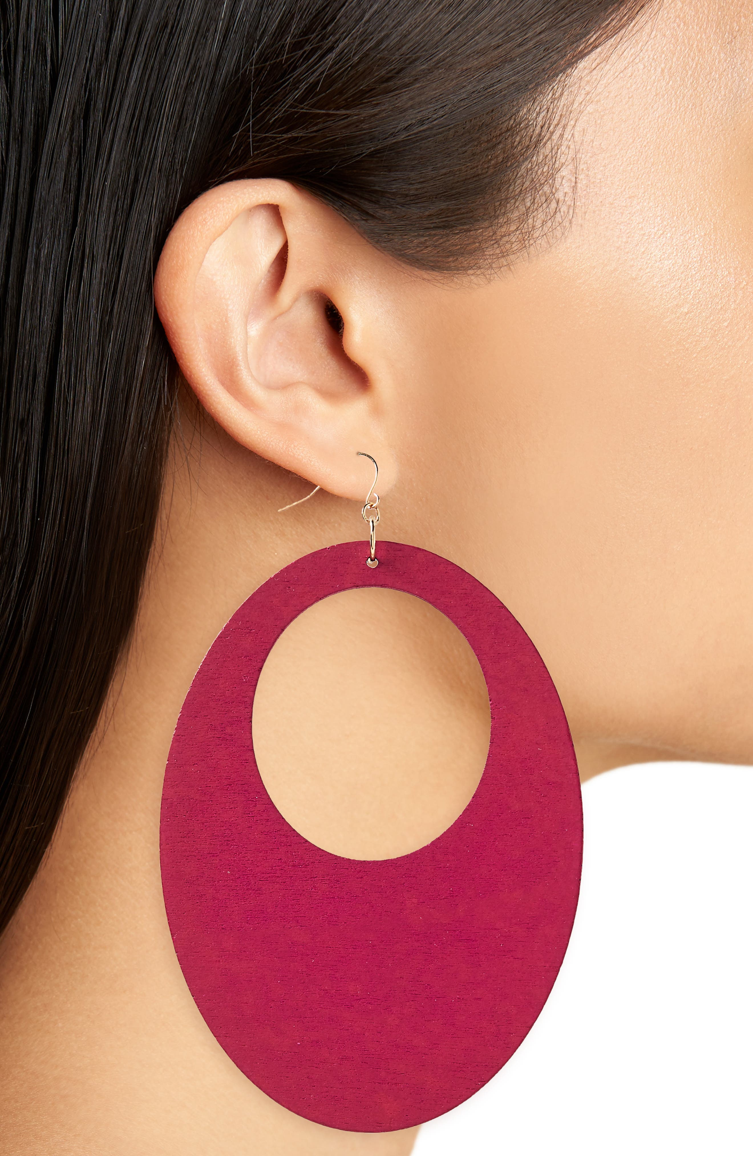 Couture Wood Earrings,                             Alternate thumbnail 2, color,                             Hot Pink