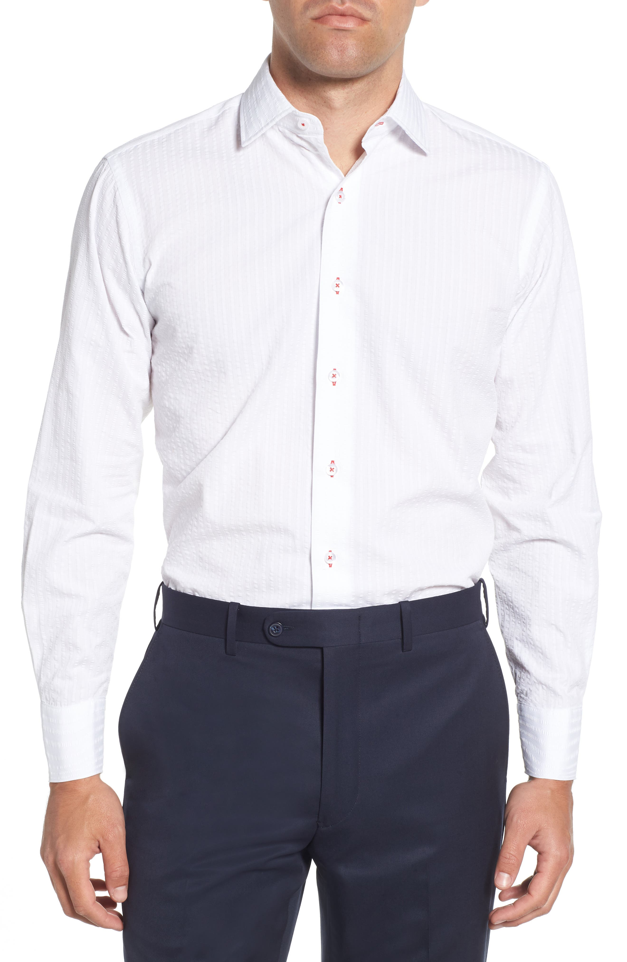 Trim Fit Seersucker Dress Shirt,                         Main,                         color, White