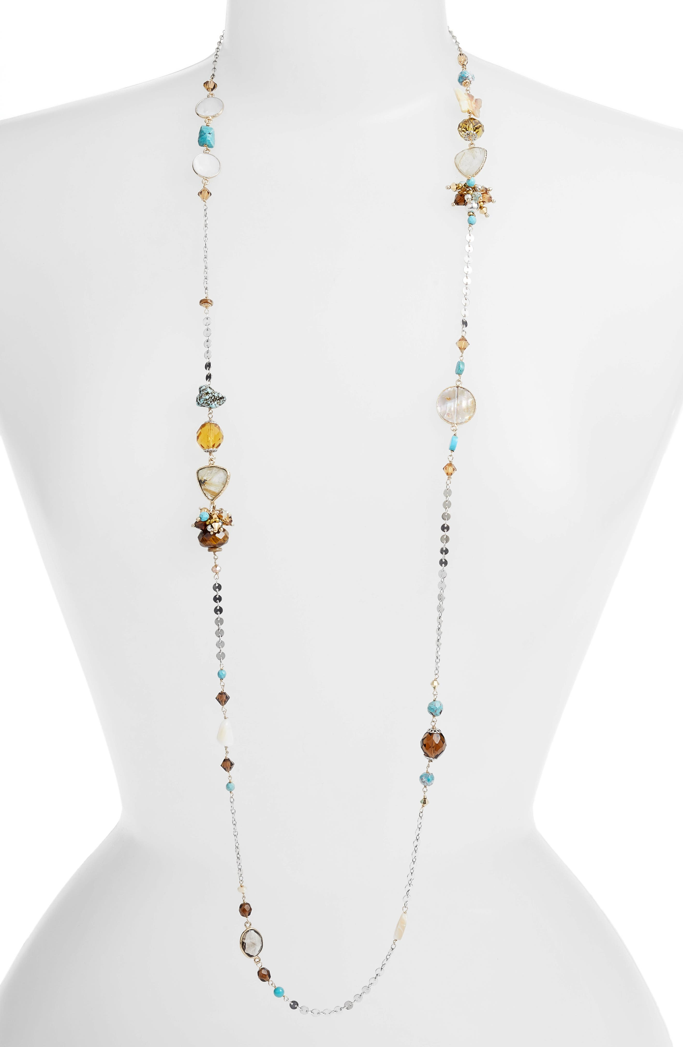 Victorien Mixed Station Chain Necklace,                             Main thumbnail 1, color,                             Gold