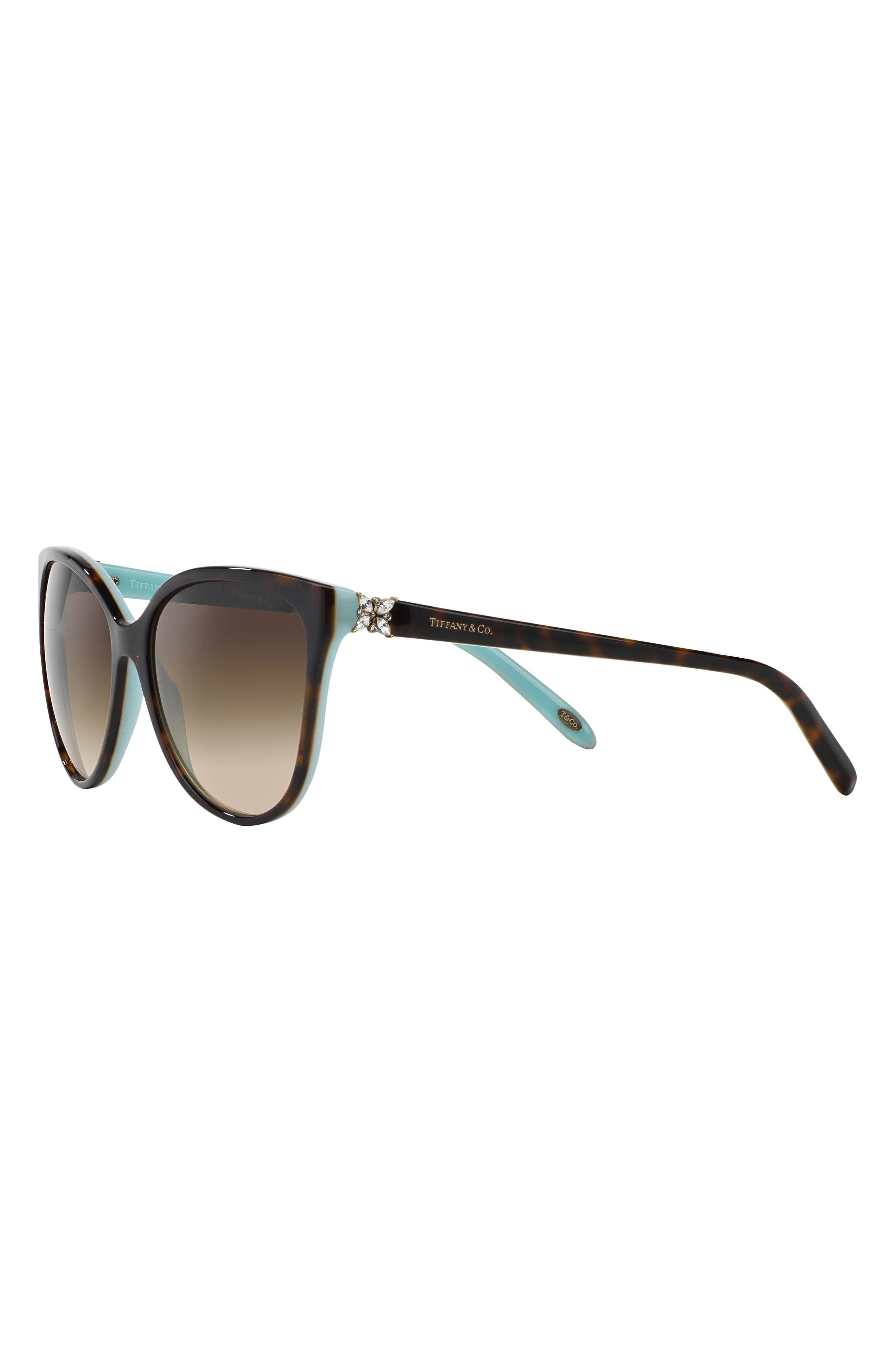 58mm Gradient Cat Eye Sunglasses,                             Alternate thumbnail 3, color,                             Havana