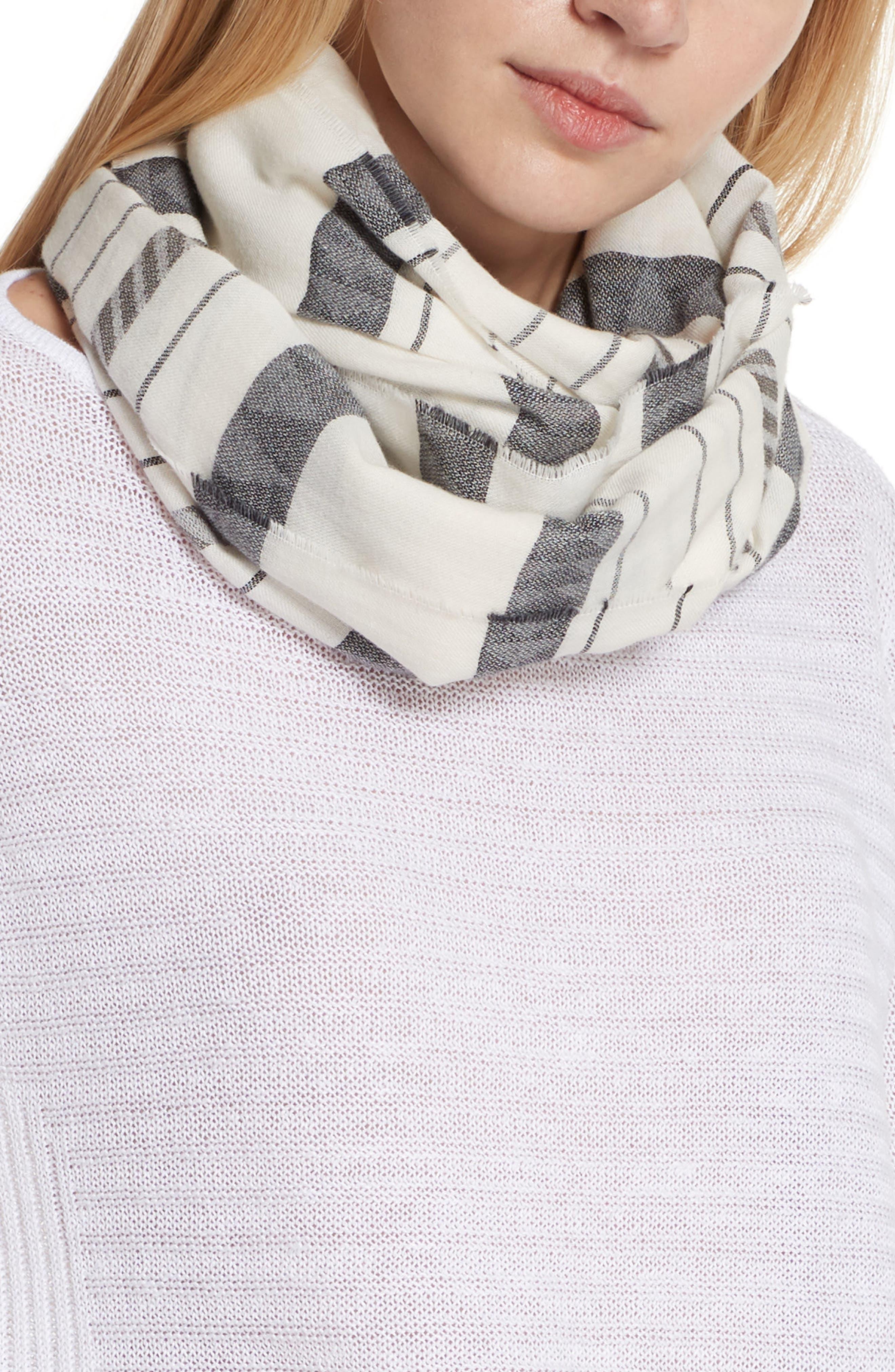 Stripe Organic Cotton & Linen Scarf,                             Alternate thumbnail 3, color,                             White