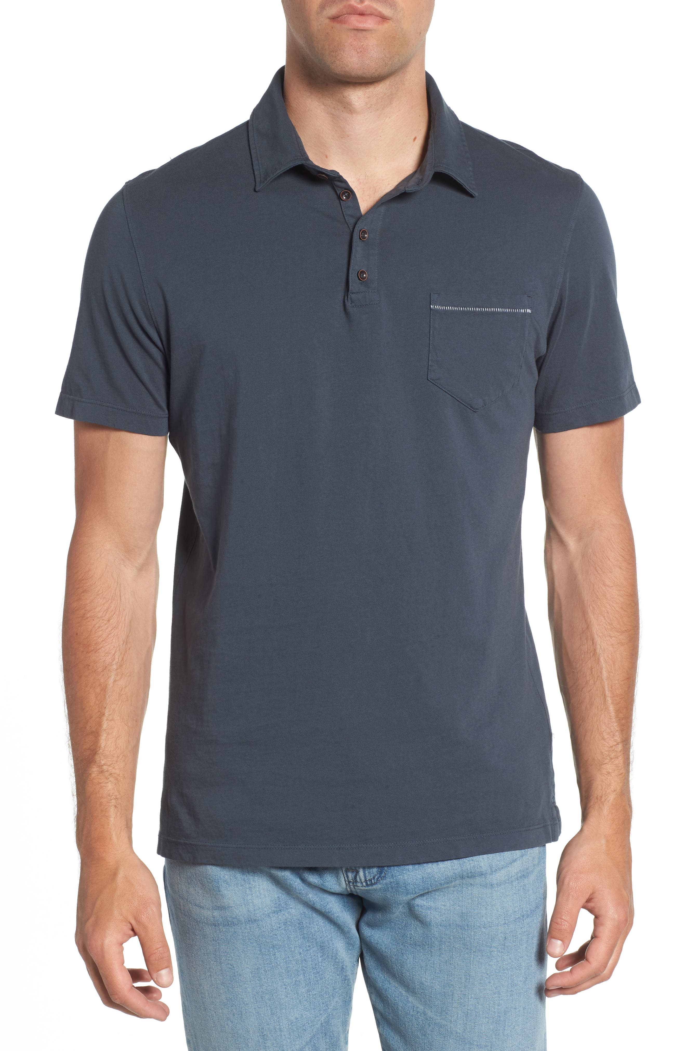 Regular Fit Pocket Polo,                         Main,                         color, Charcoal