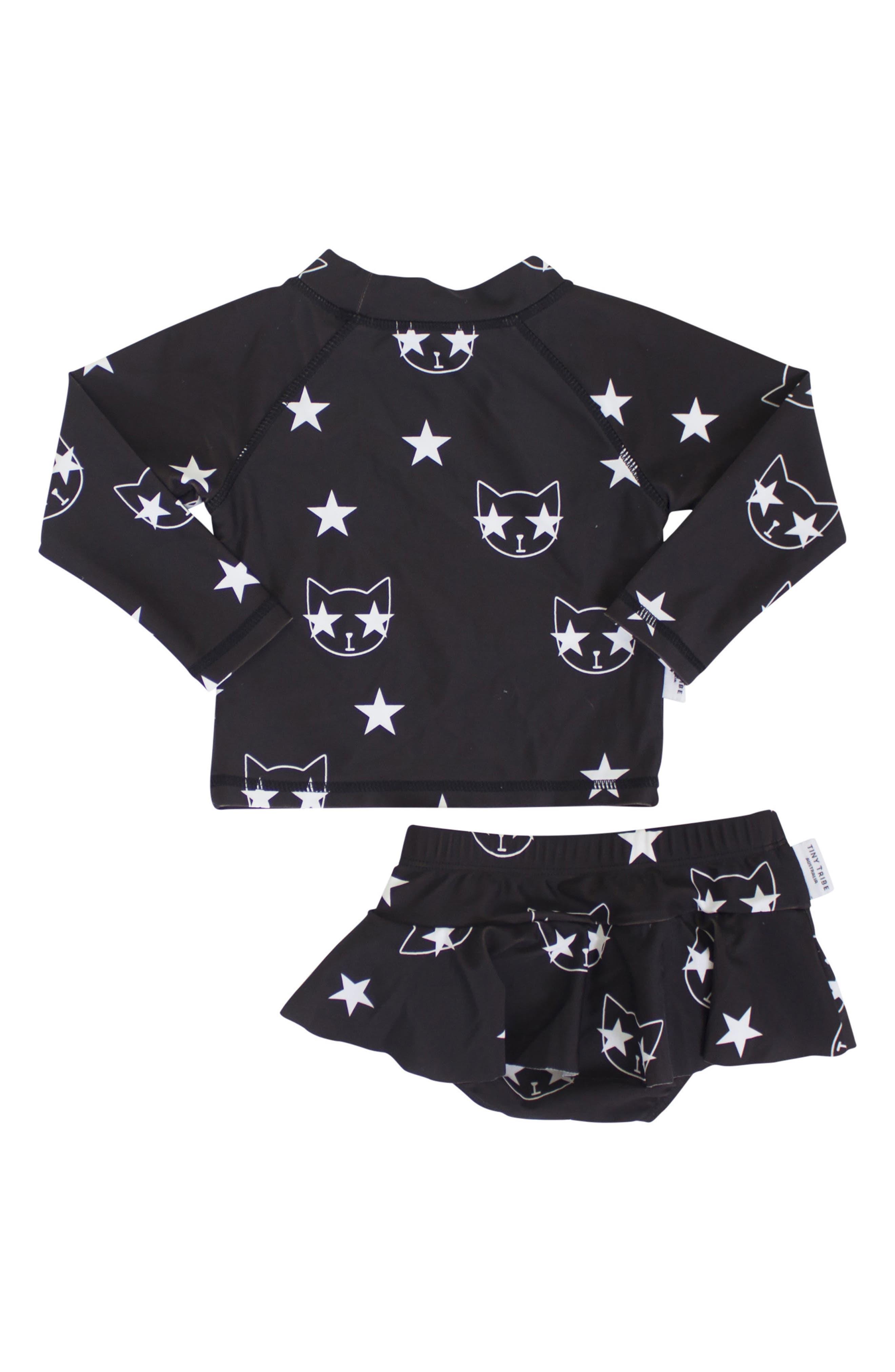 Star Cat Two-Piece Swimsuit,                             Alternate thumbnail 2, color,                             Black