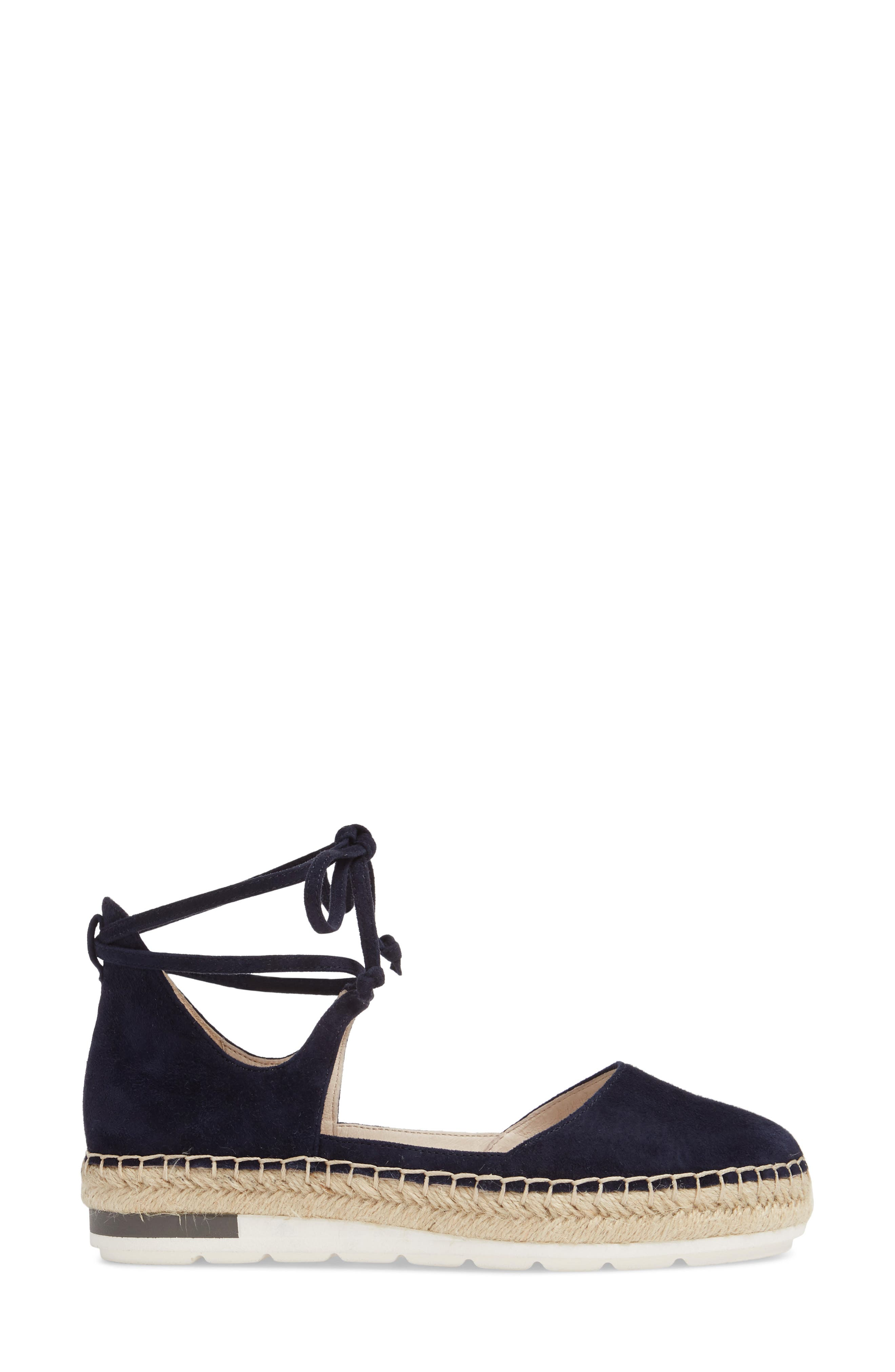 Leena Ankle Strap Sandal,                             Alternate thumbnail 3, color,                             Navy Suede