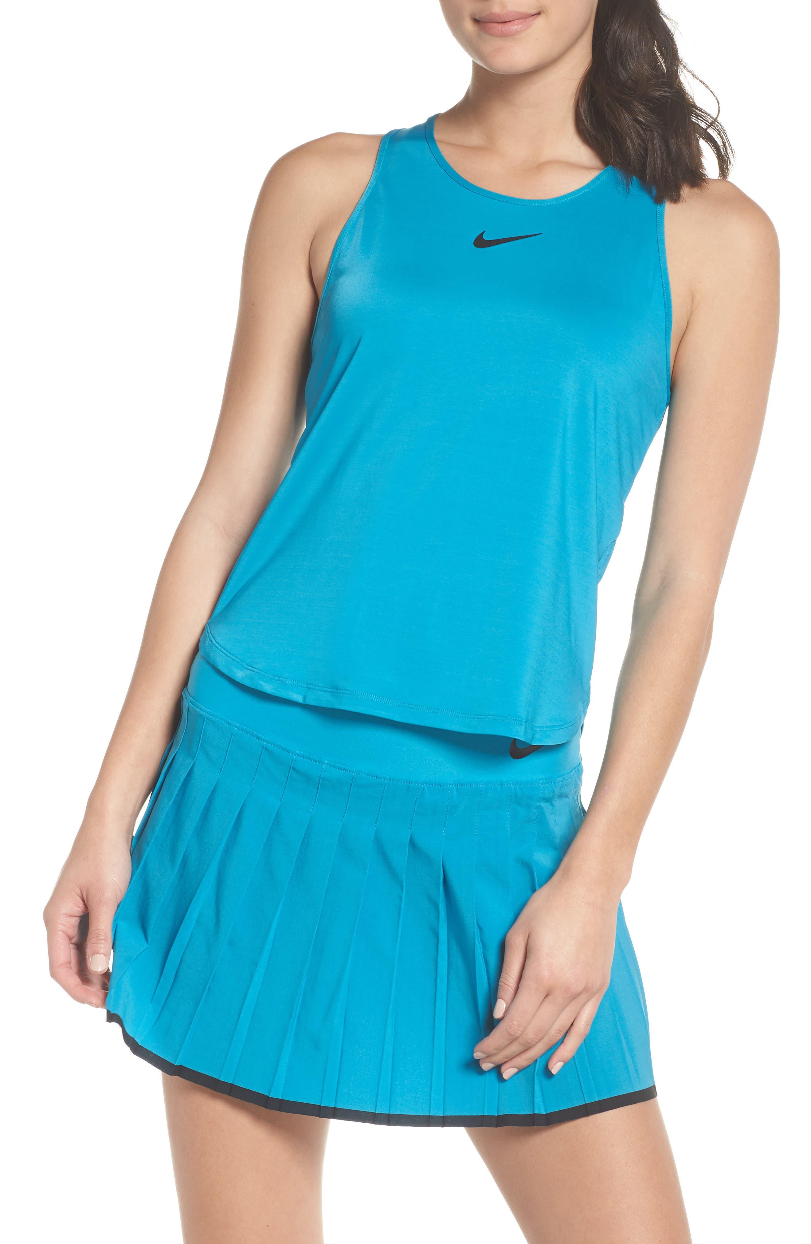 Court Dry Slam Tennis Tank,                             Main thumbnail 1, color,                             Neo Turquoise/ Black