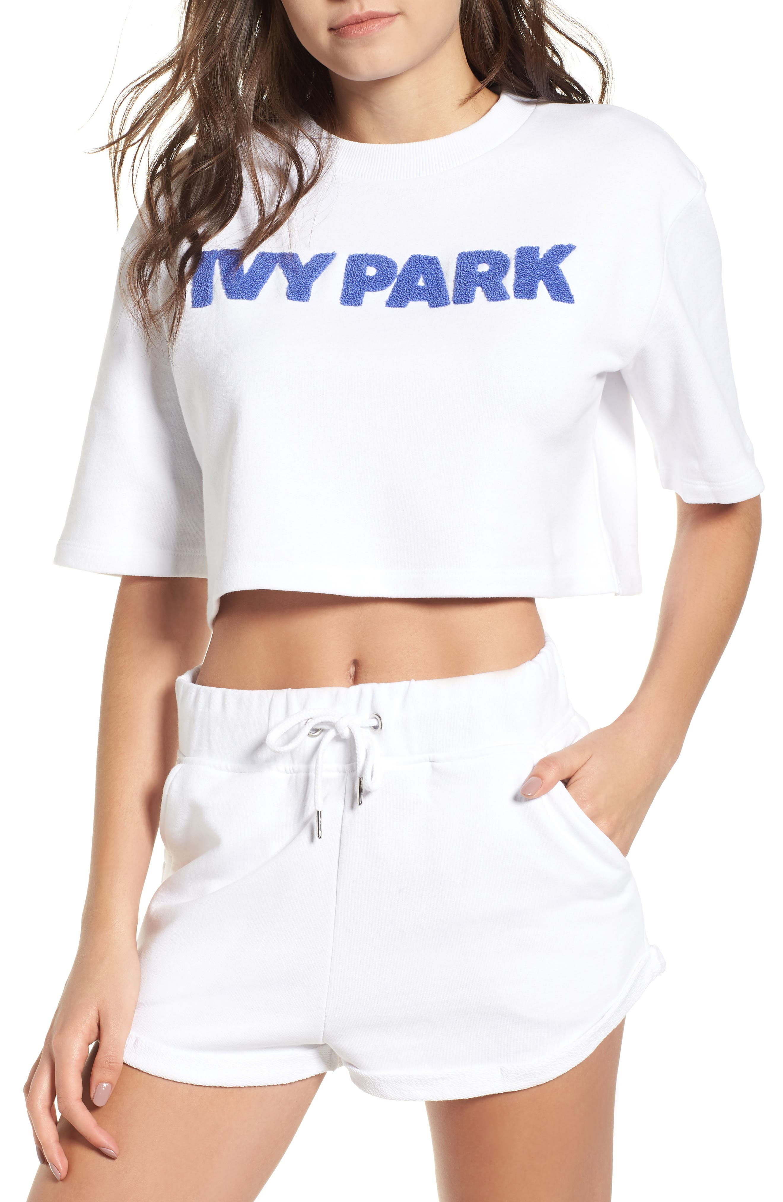 Chenille Logo Crop Tee by Ivy Park