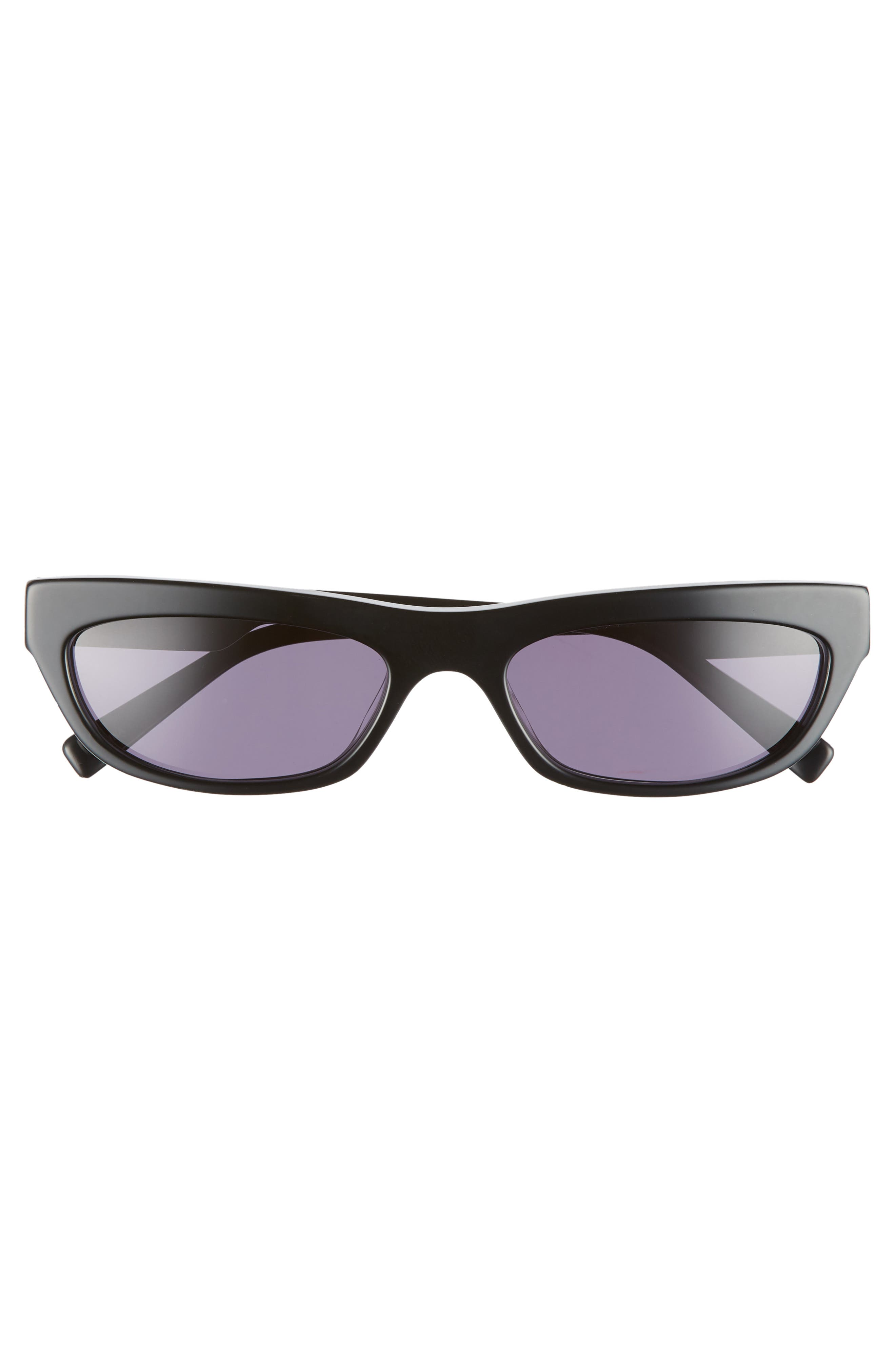 Courtney 55mm Cat Eye Sunglasses,                             Alternate thumbnail 3, color,                             Black/ Solid Smoke