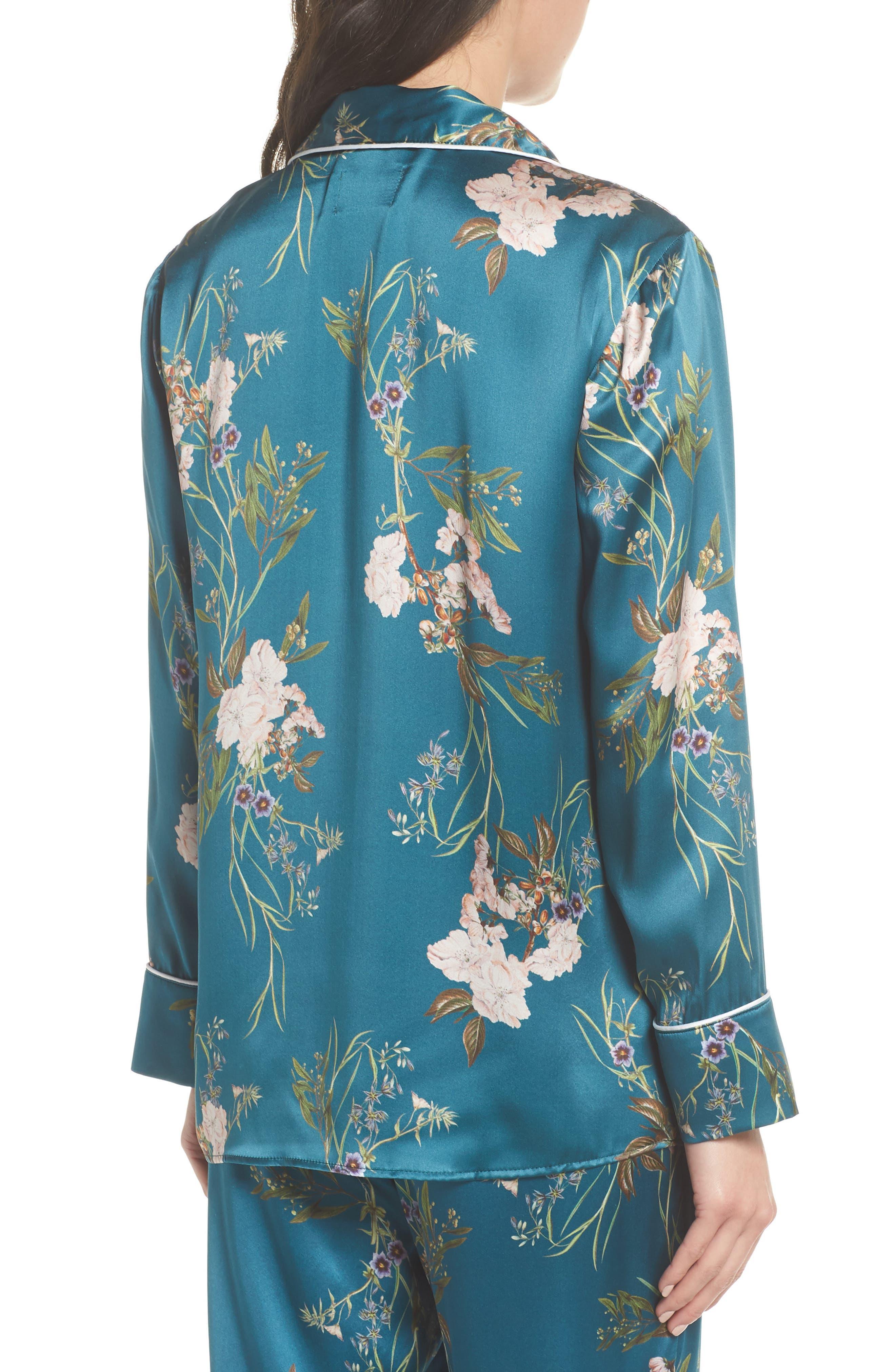 Brigette Silk Pajama Top,                             Alternate thumbnail 2, color,                             Teal Floral