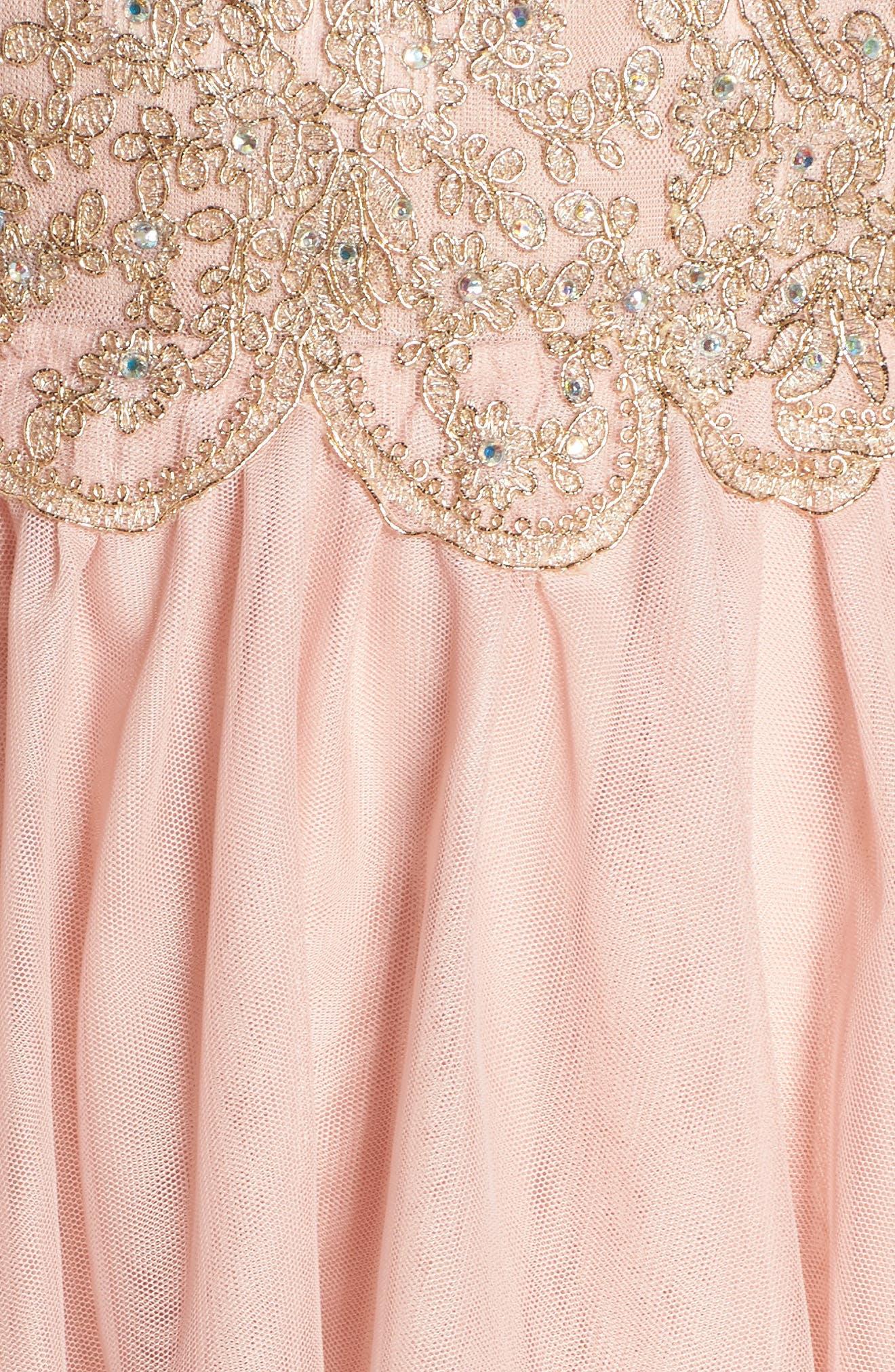 Embellished Fit & Flare Dress,                             Alternate thumbnail 5, color,                             Blush/ Gold