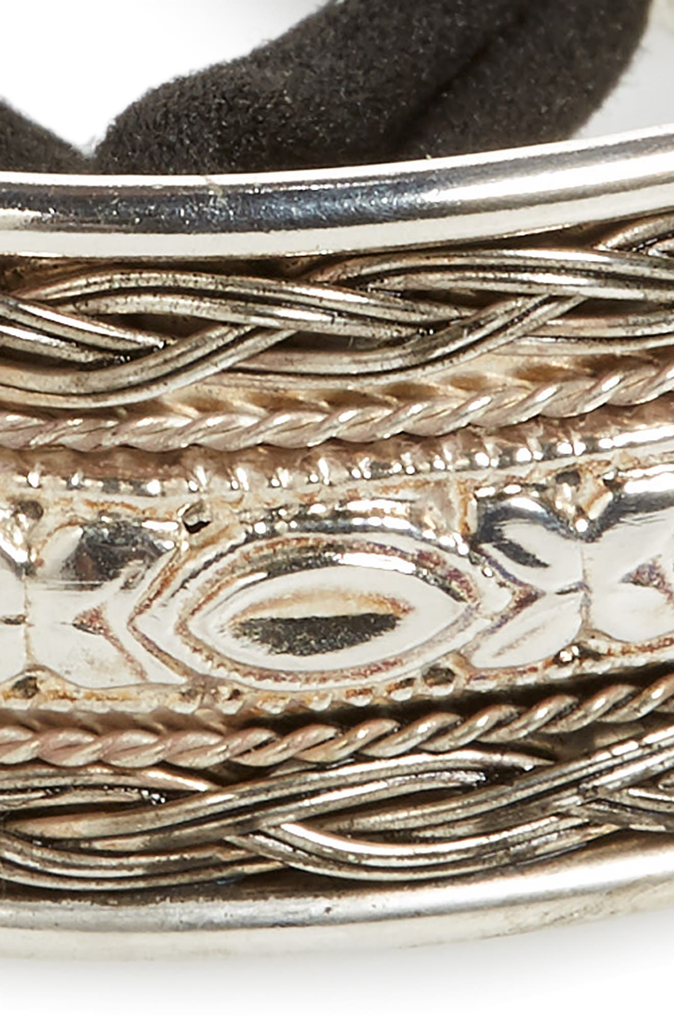 Textured Metal Bun Cuff,                             Alternate thumbnail 3, color,                             Silver
