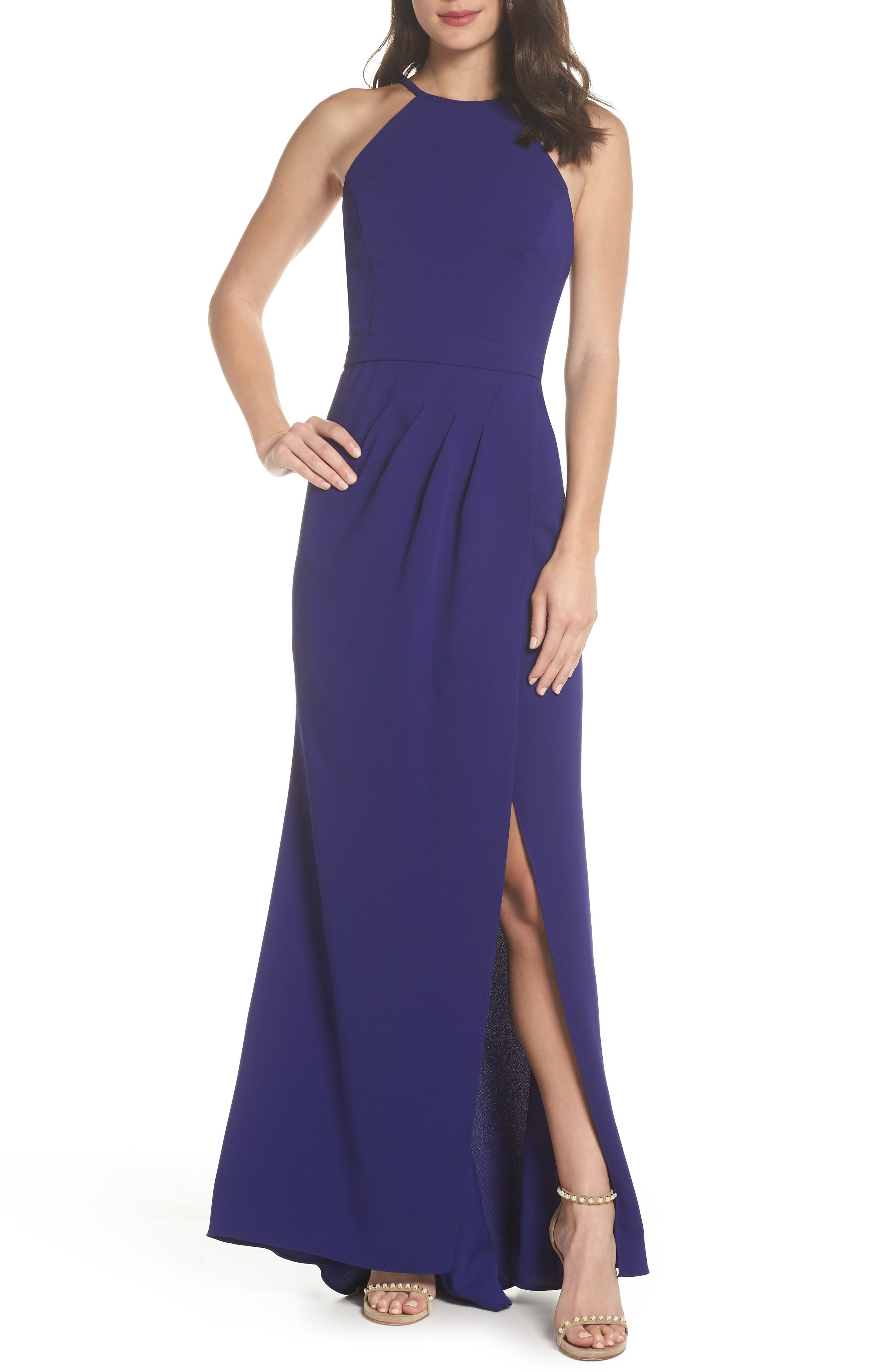 High Neck Gown,                             Main thumbnail 1, color,                             Royal