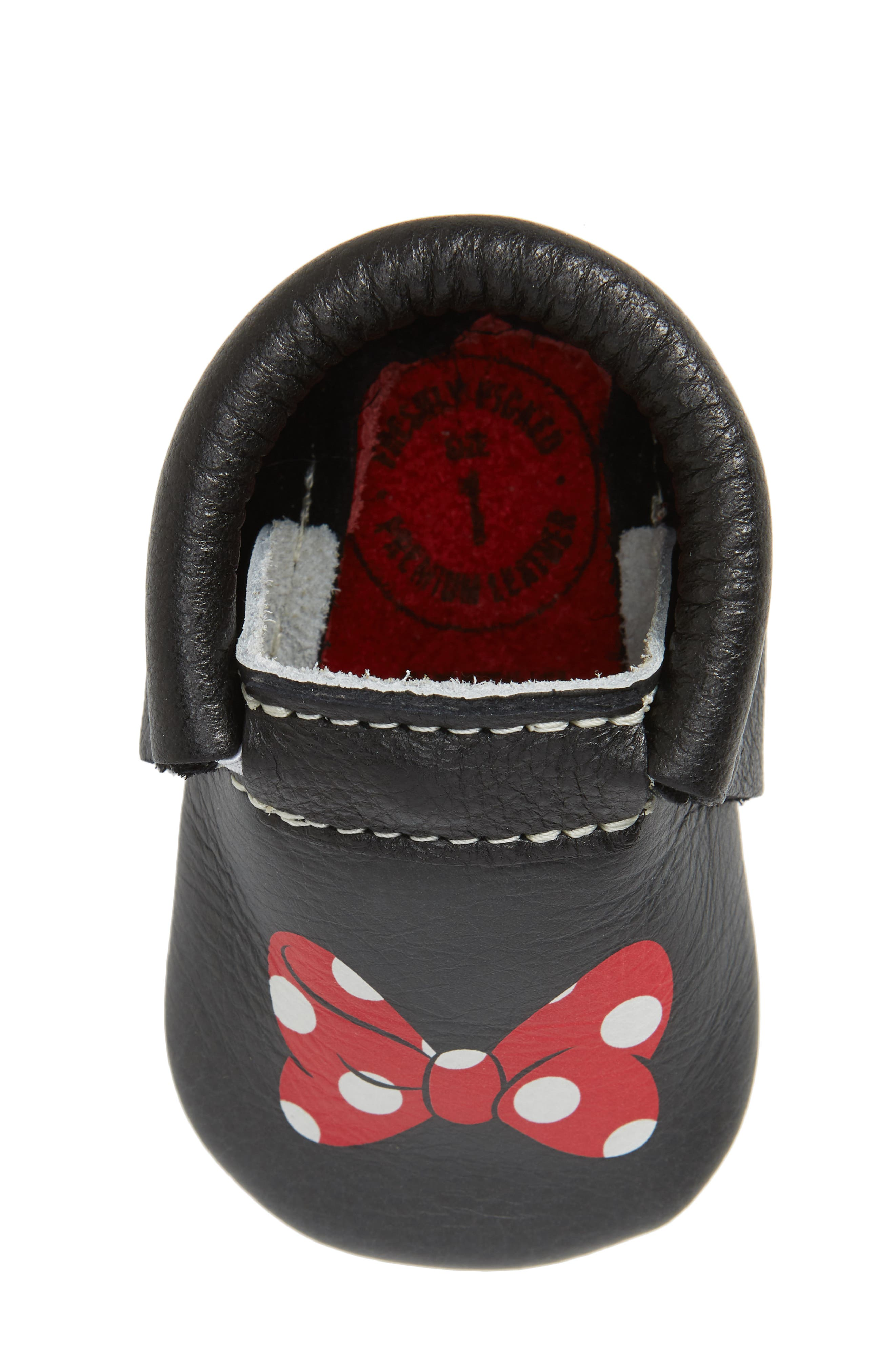 x Disney<sup>®</sup> Baby Minnie Mouse Crib Moccasin,                             Alternate thumbnail 5, color,                             Black Leather