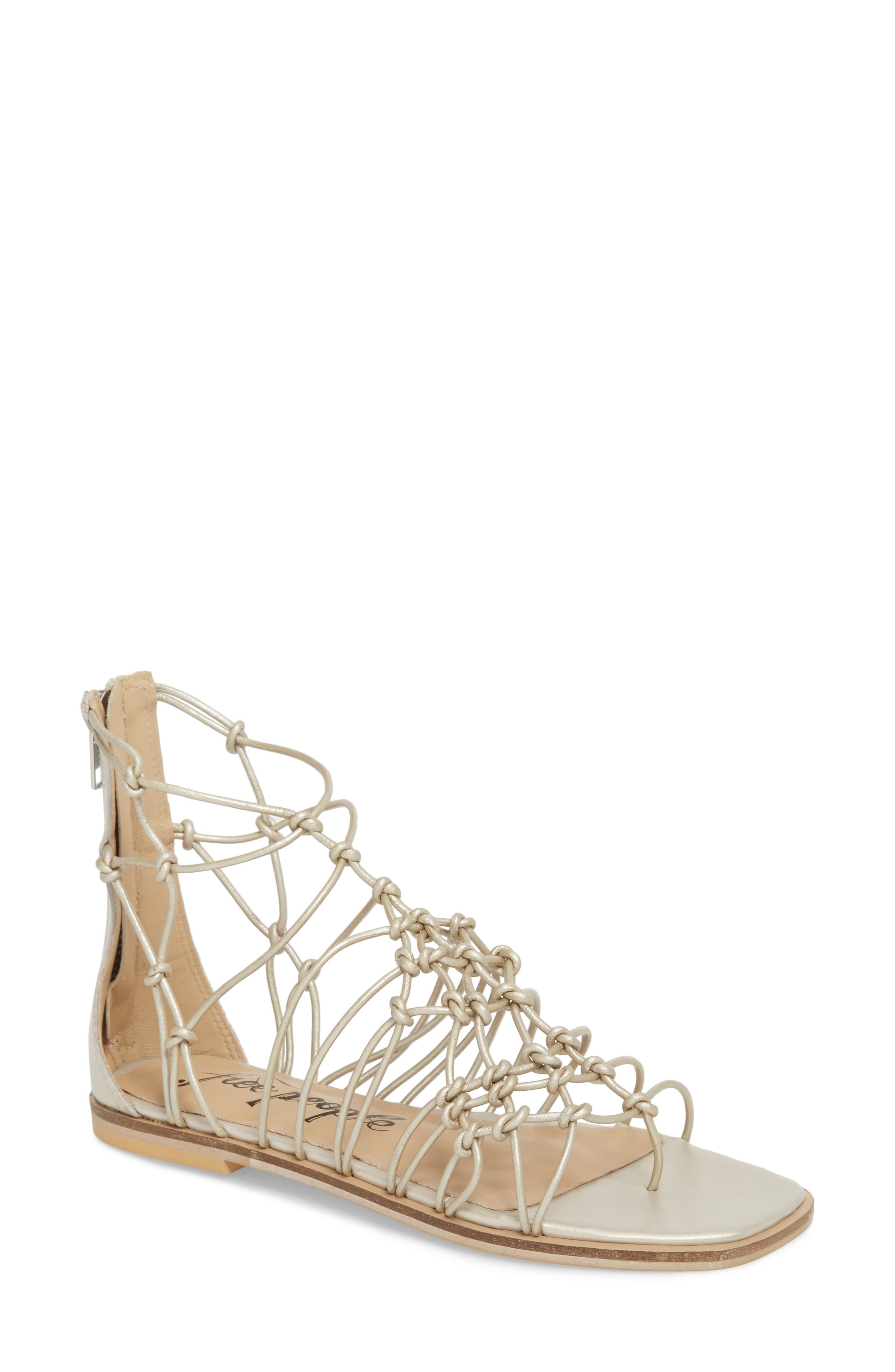 Forget Me Knot Gladiator Sandal,                             Main thumbnail 1, color,                             Silver