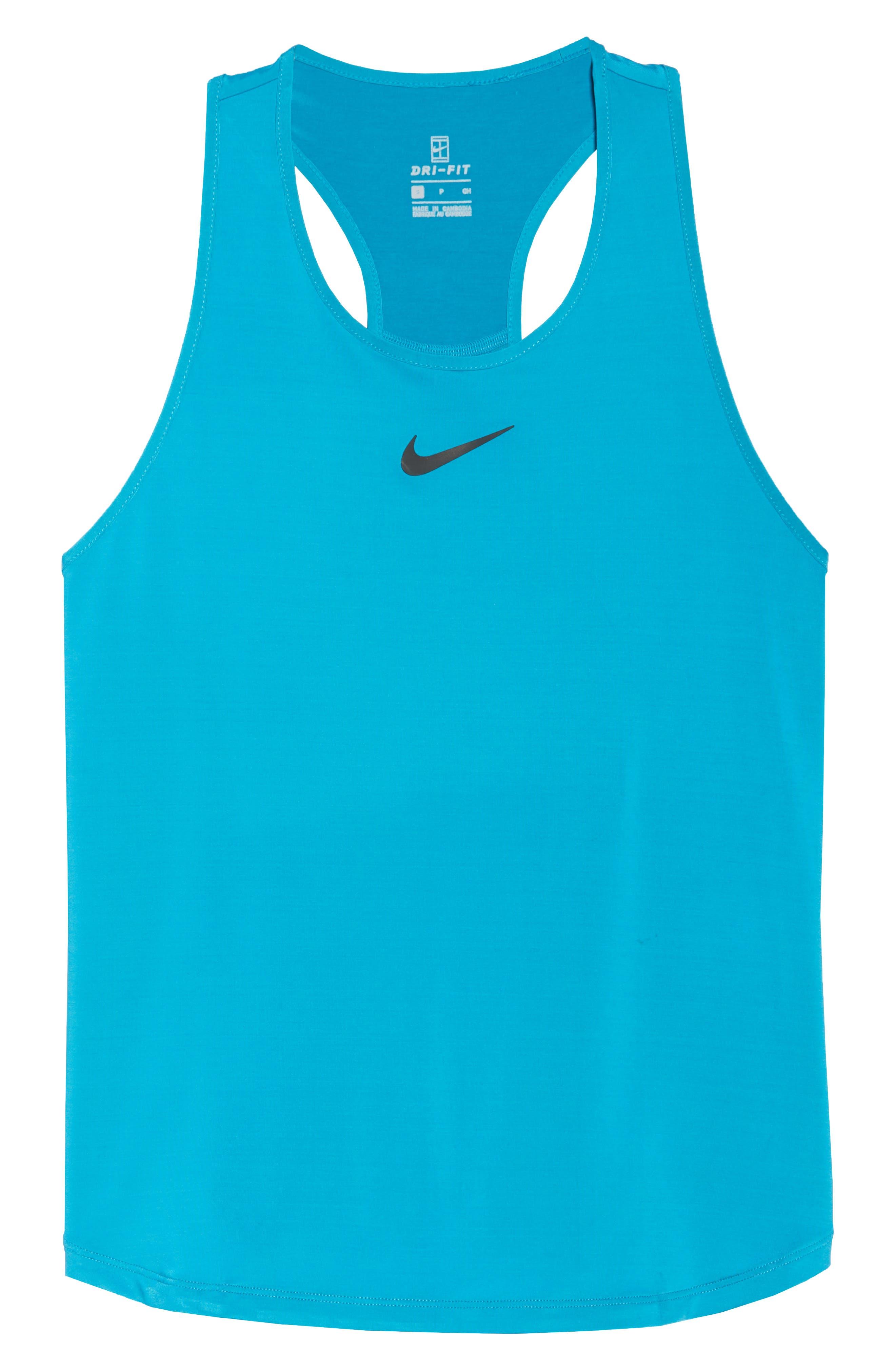 Court Dry Slam Tennis Tank,                             Alternate thumbnail 7, color,                             Neo Turquoise/ Black