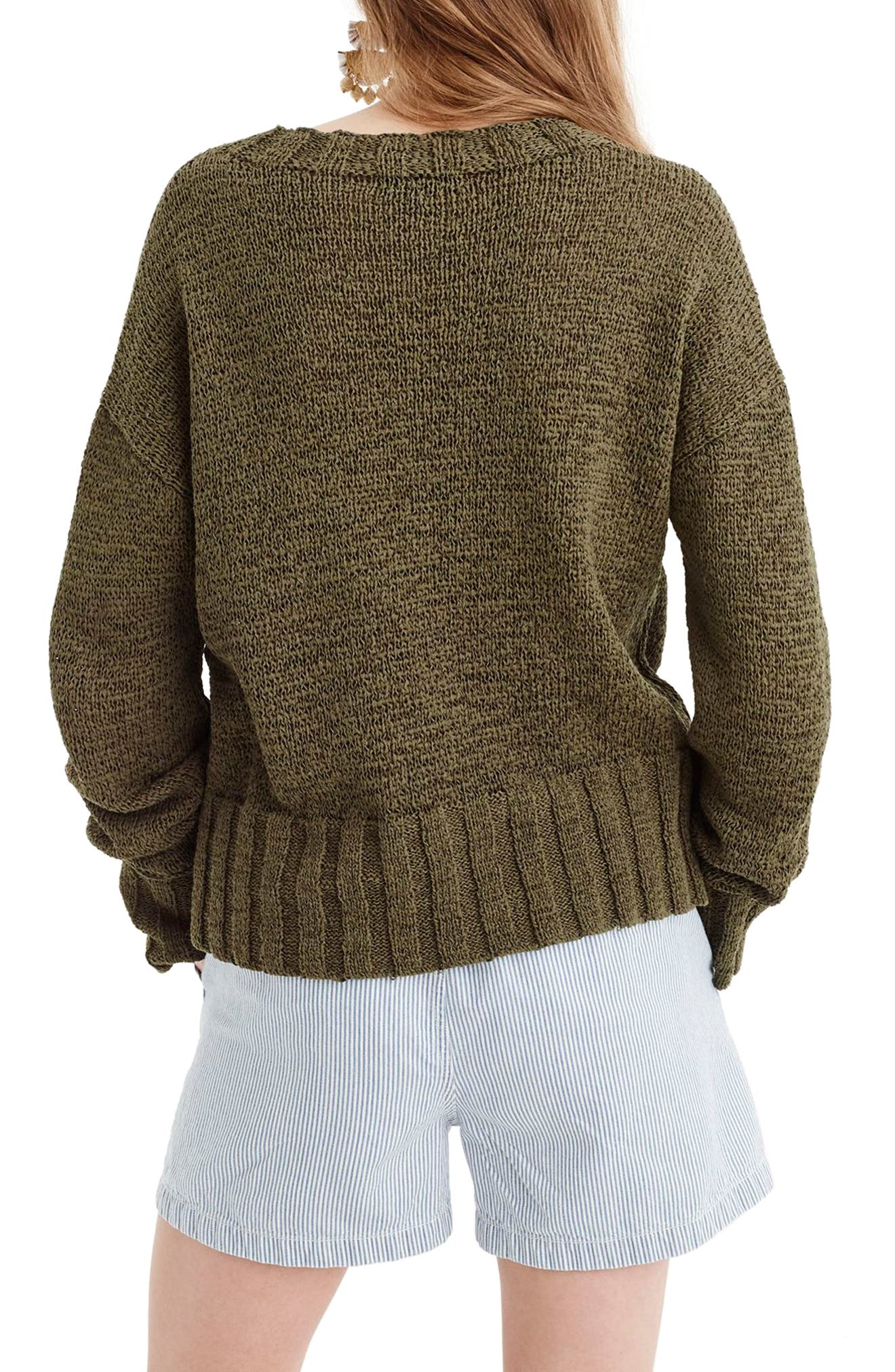 Erica Heathered Cotton Wide Rib Crewneck Sweater,                             Alternate thumbnail 2, color,                             Loden Green