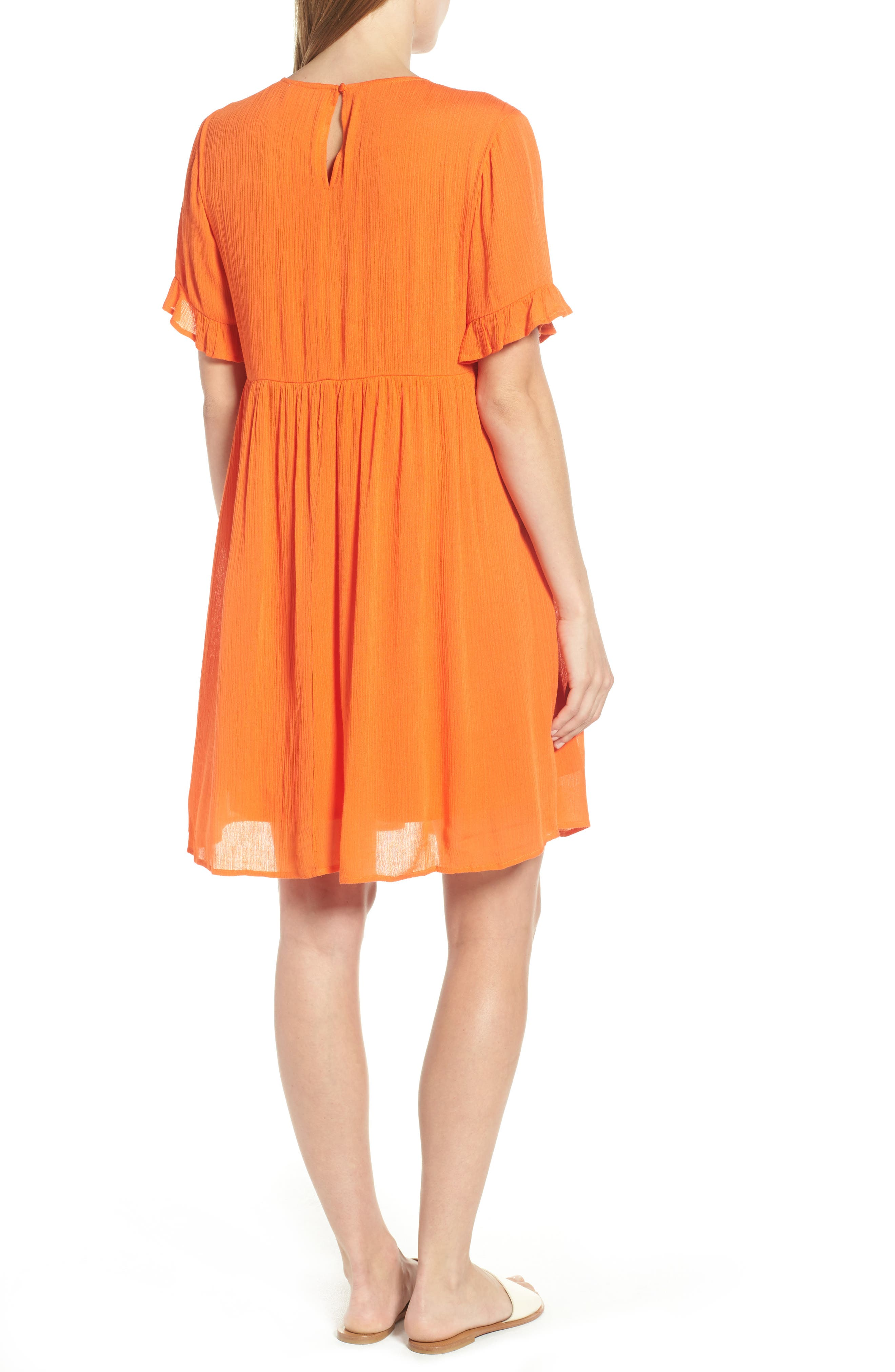 Embroidered Dress,                             Alternate thumbnail 2, color,                             Orange