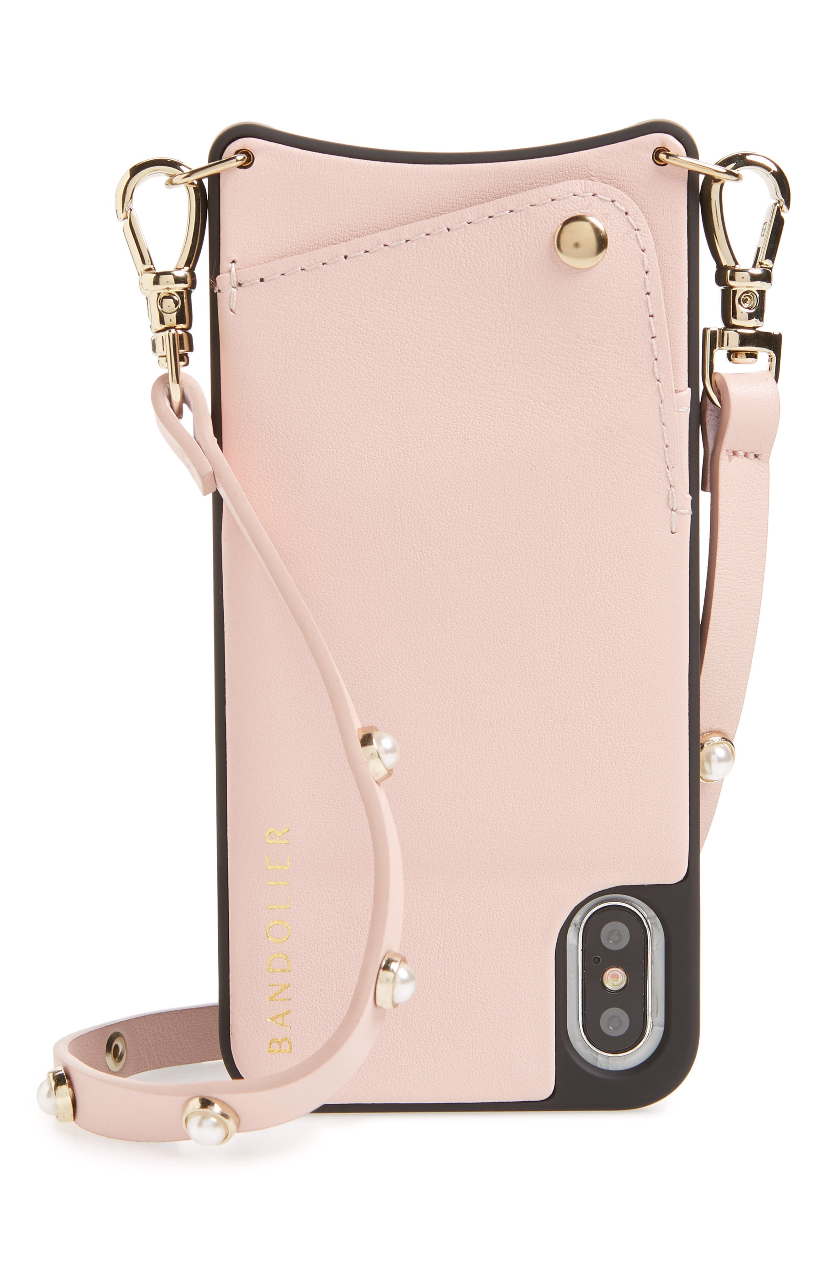 Claire Leather iPhone X Crossbody Case,                             Main thumbnail 1, color,                             Pink/ Pearl