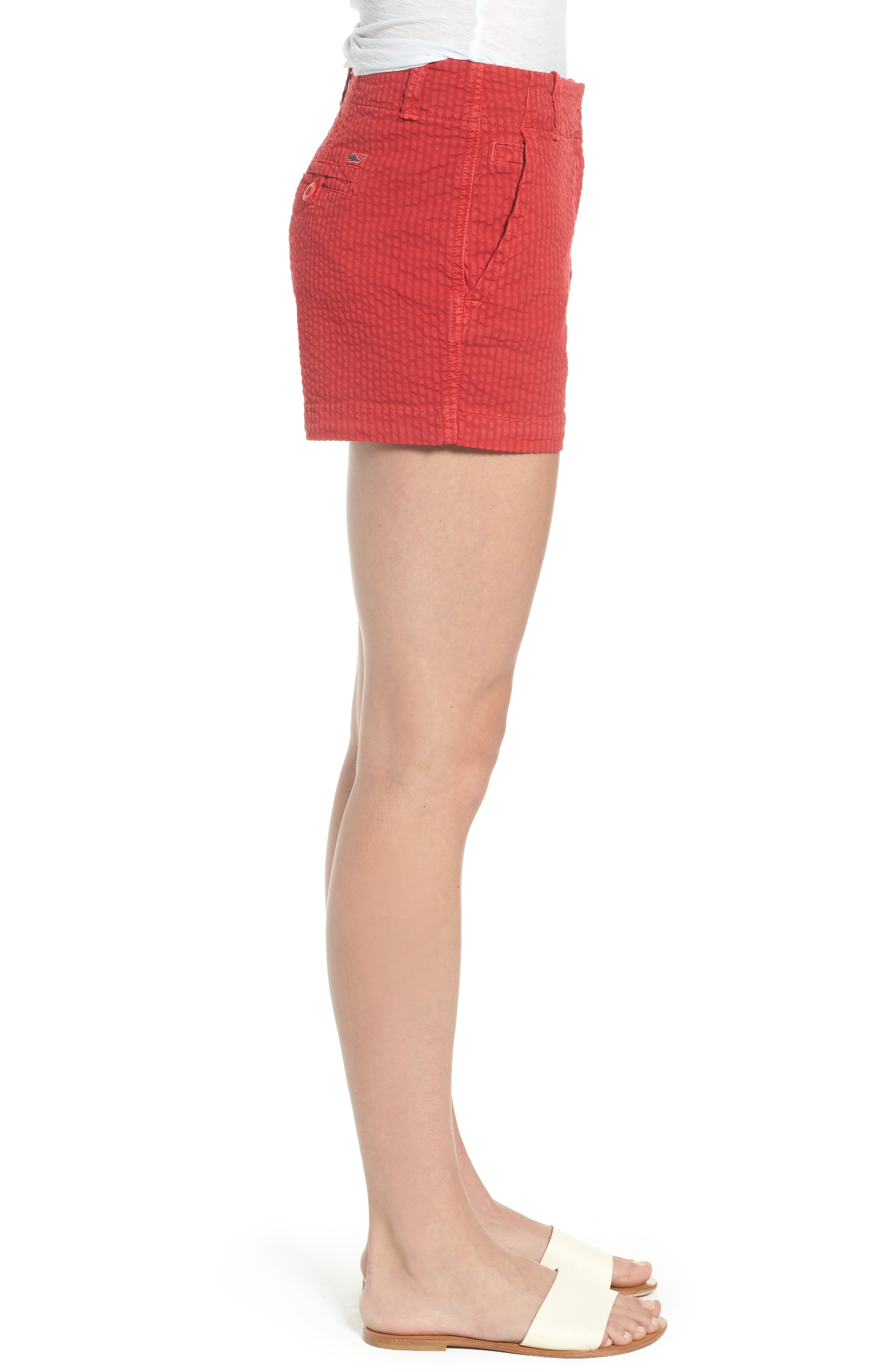 Everyday Seersucker Shorts,                             Alternate thumbnail 3, color,                             Red Velvet