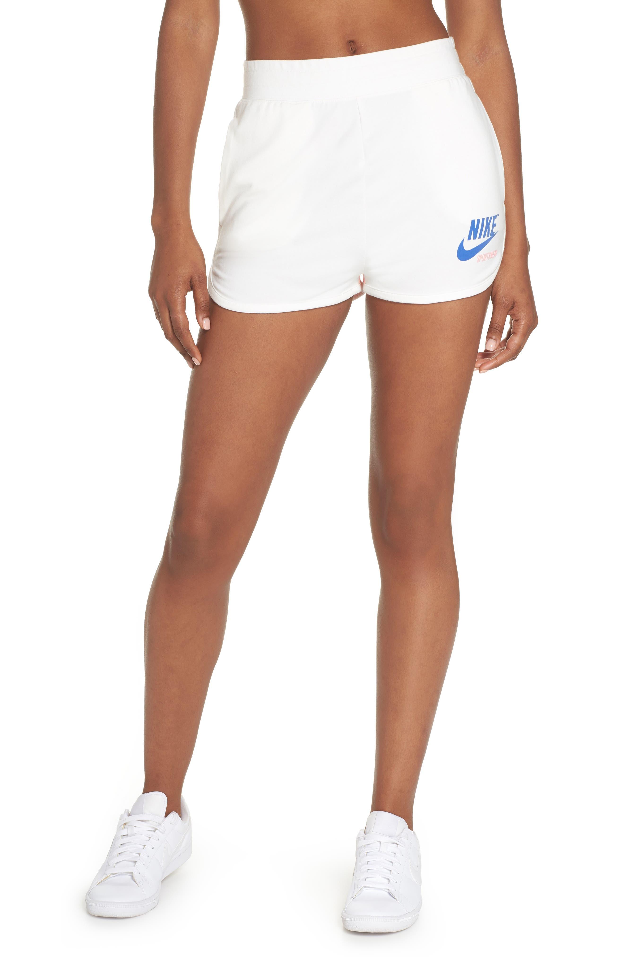 Sportswear High Waist Archive Shorts,                             Main thumbnail 1, color,                             Sail/ Bleached Coral/ Sail