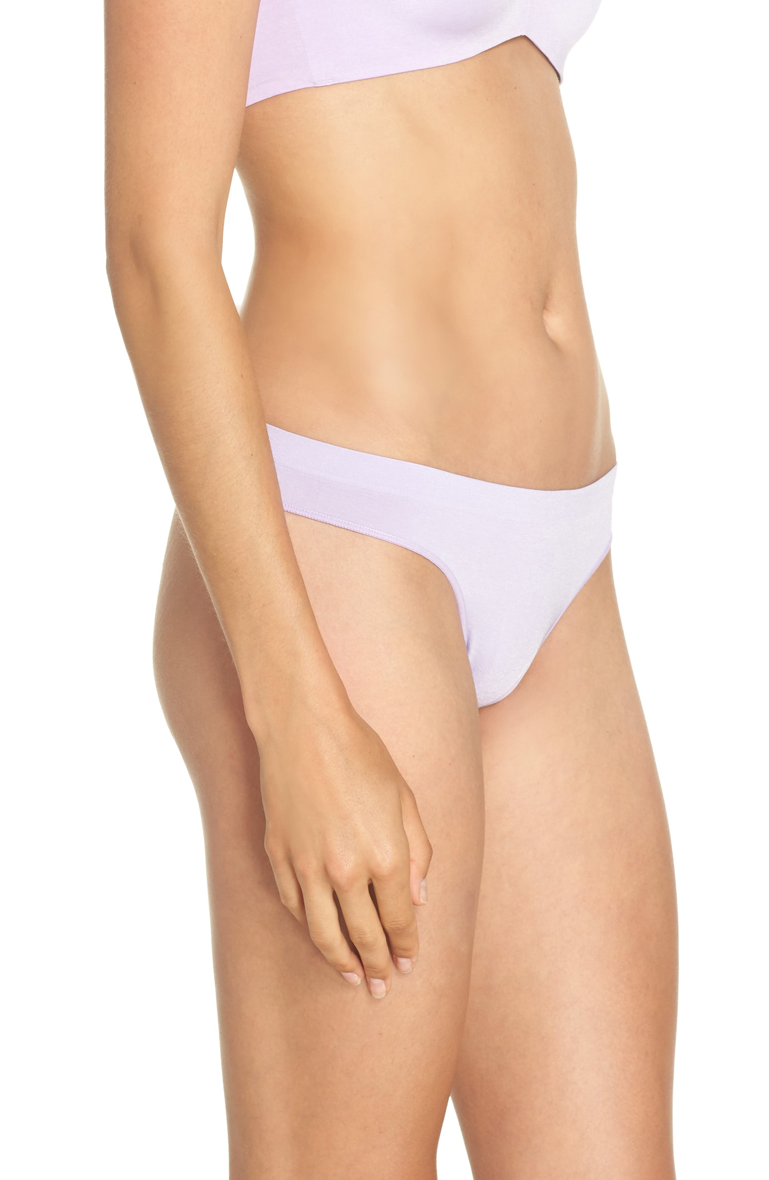 Stretch Thong,                             Alternate thumbnail 3, color,                             Purple Rose Heather
