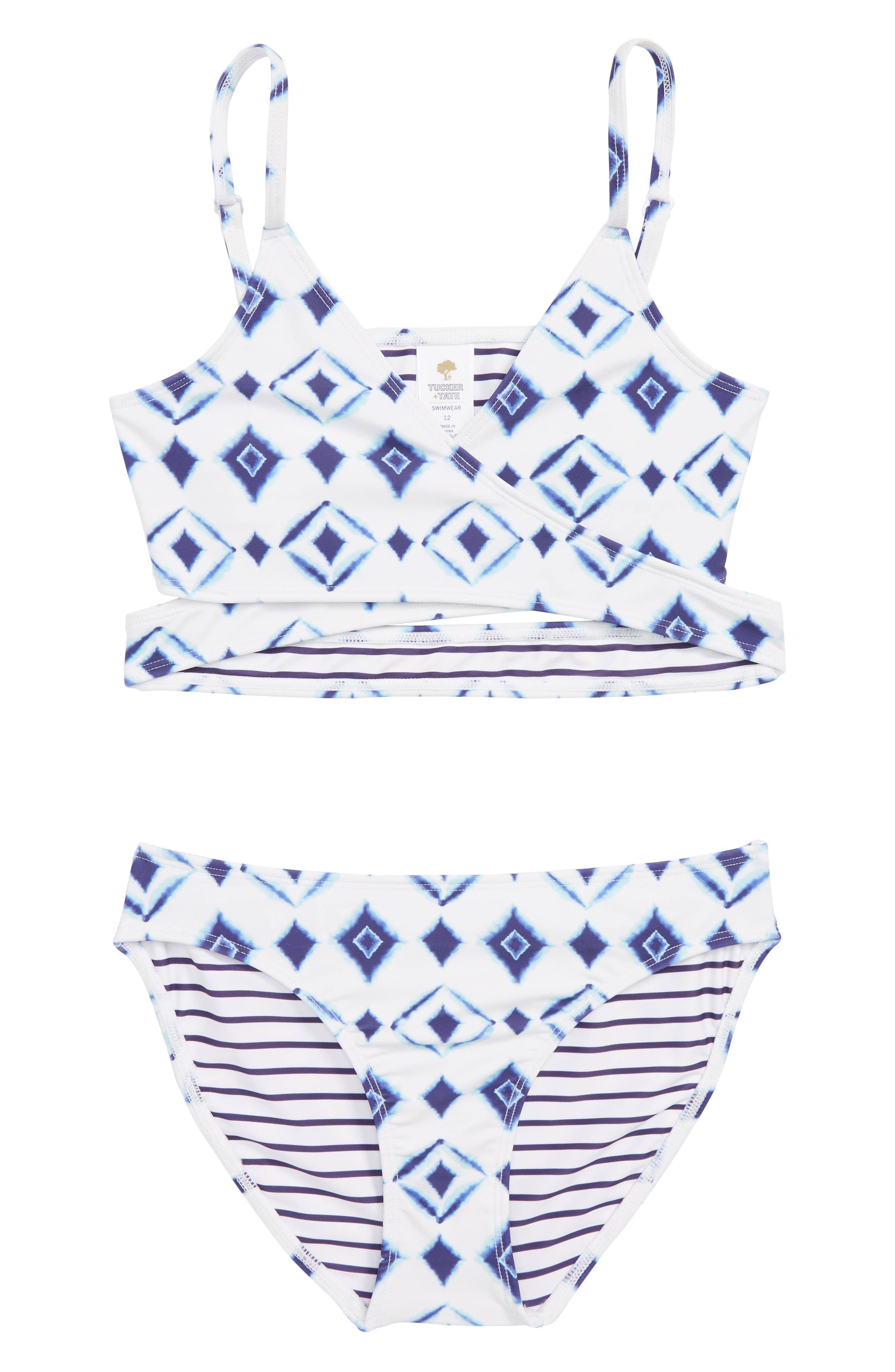 Two-Piece Swimsuit,                         Main,                         color, White- Blue Shibori